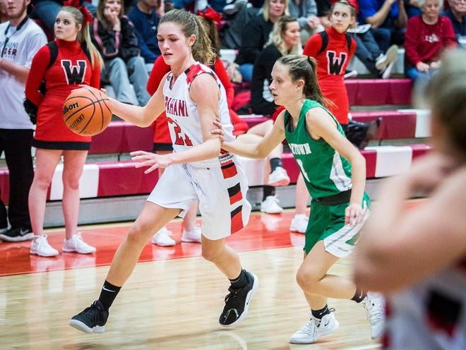 Wapahani's Sydney Cook, shown here earlier this season against Yorktown, scored 16 points in the Raiders' win over Cowan on Thursday.