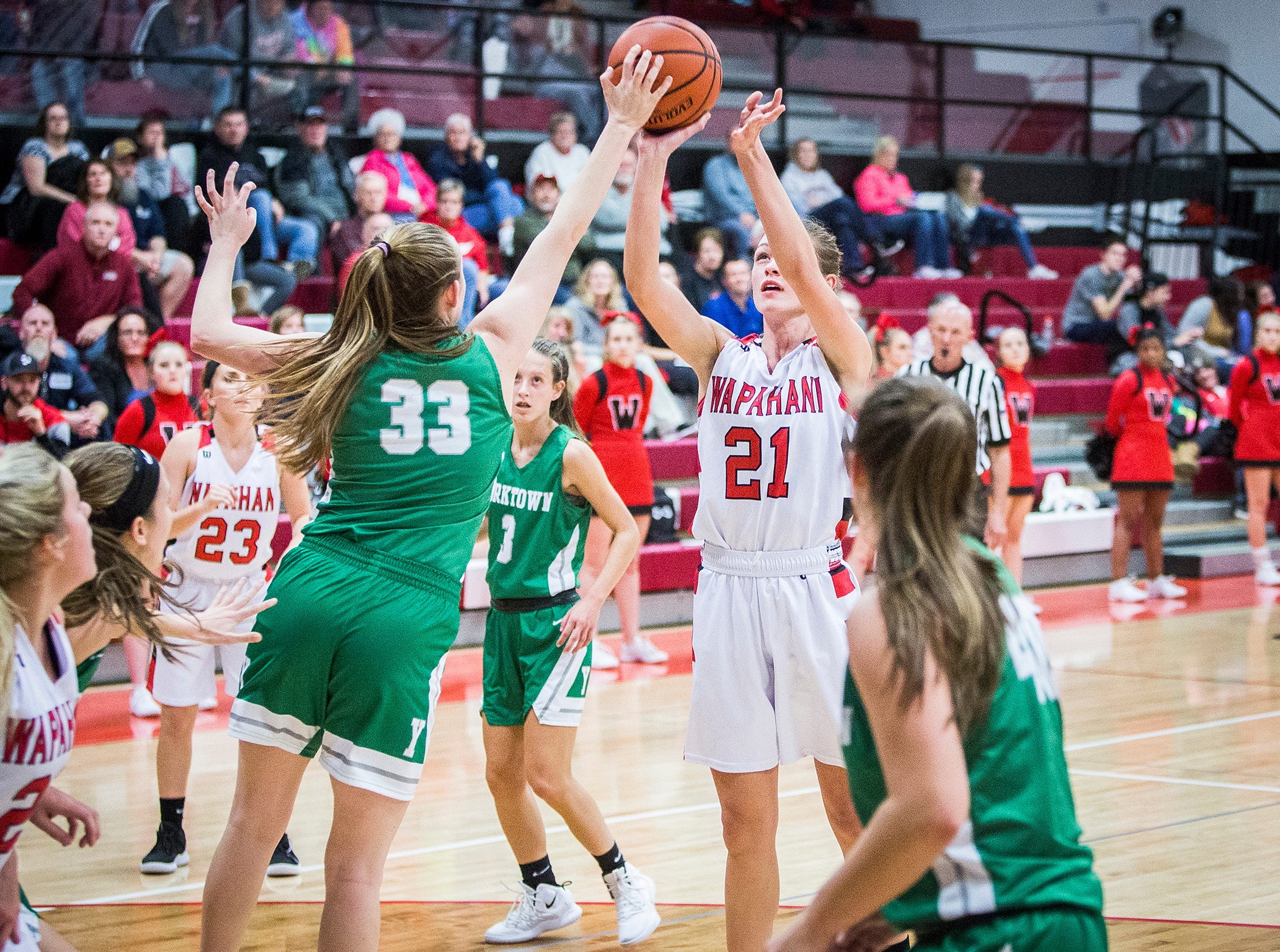 Wapahani's Sydney Cook shoots in the lane against Yorktown during their game at Wapahani High School Tuesday, Dec. 4, 2018.