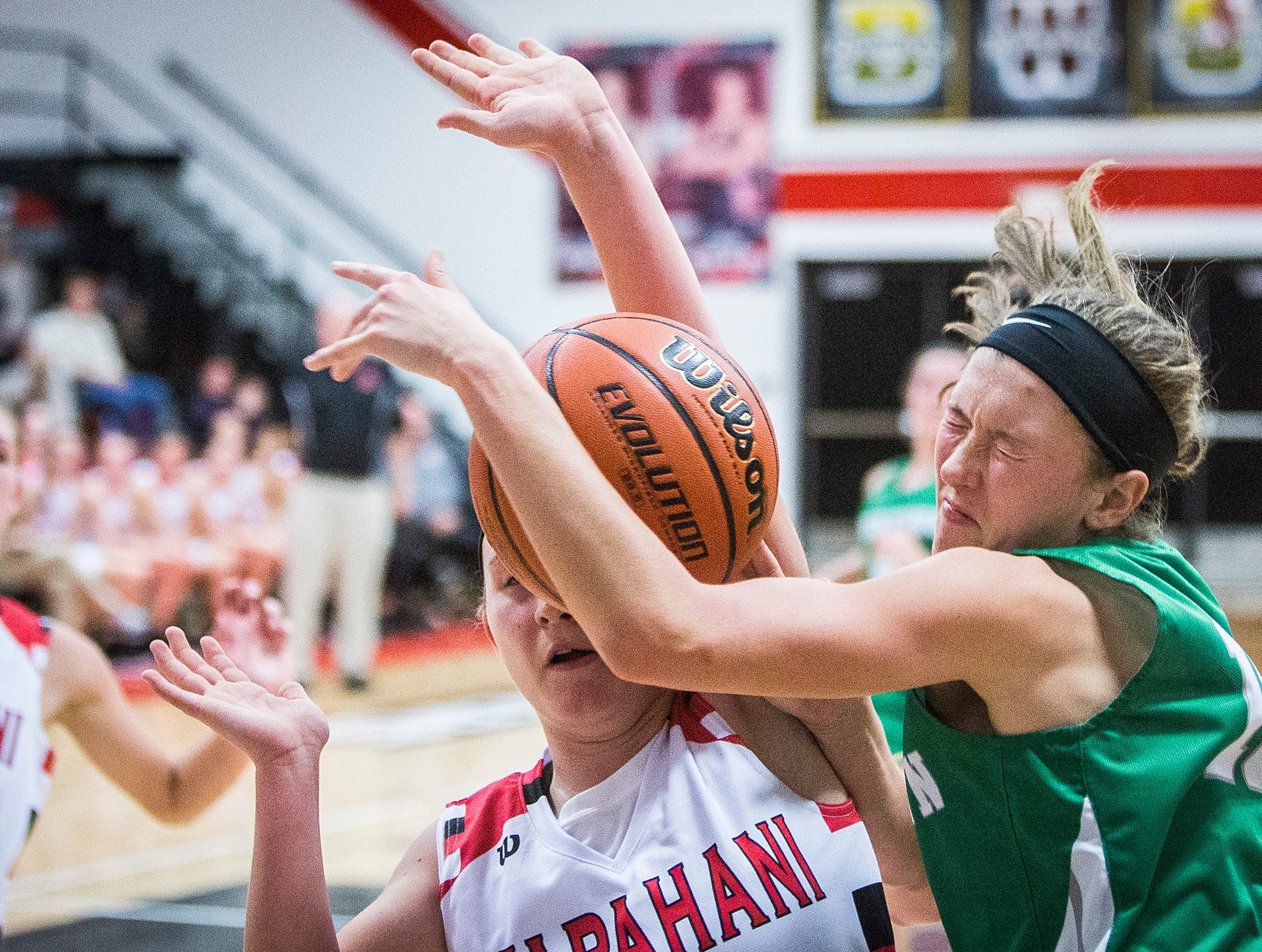 Yorktown faces off against Wapahani during their game at Wapahani High School Tuesday, Dec. 4, 2018.