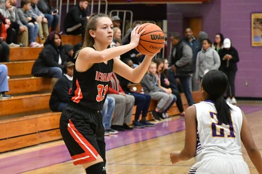 Stewarts Creek's Madison Henegar looks to pass during a recent game. Henegar was voted area girls athlete of the week for Jan. 14-19.