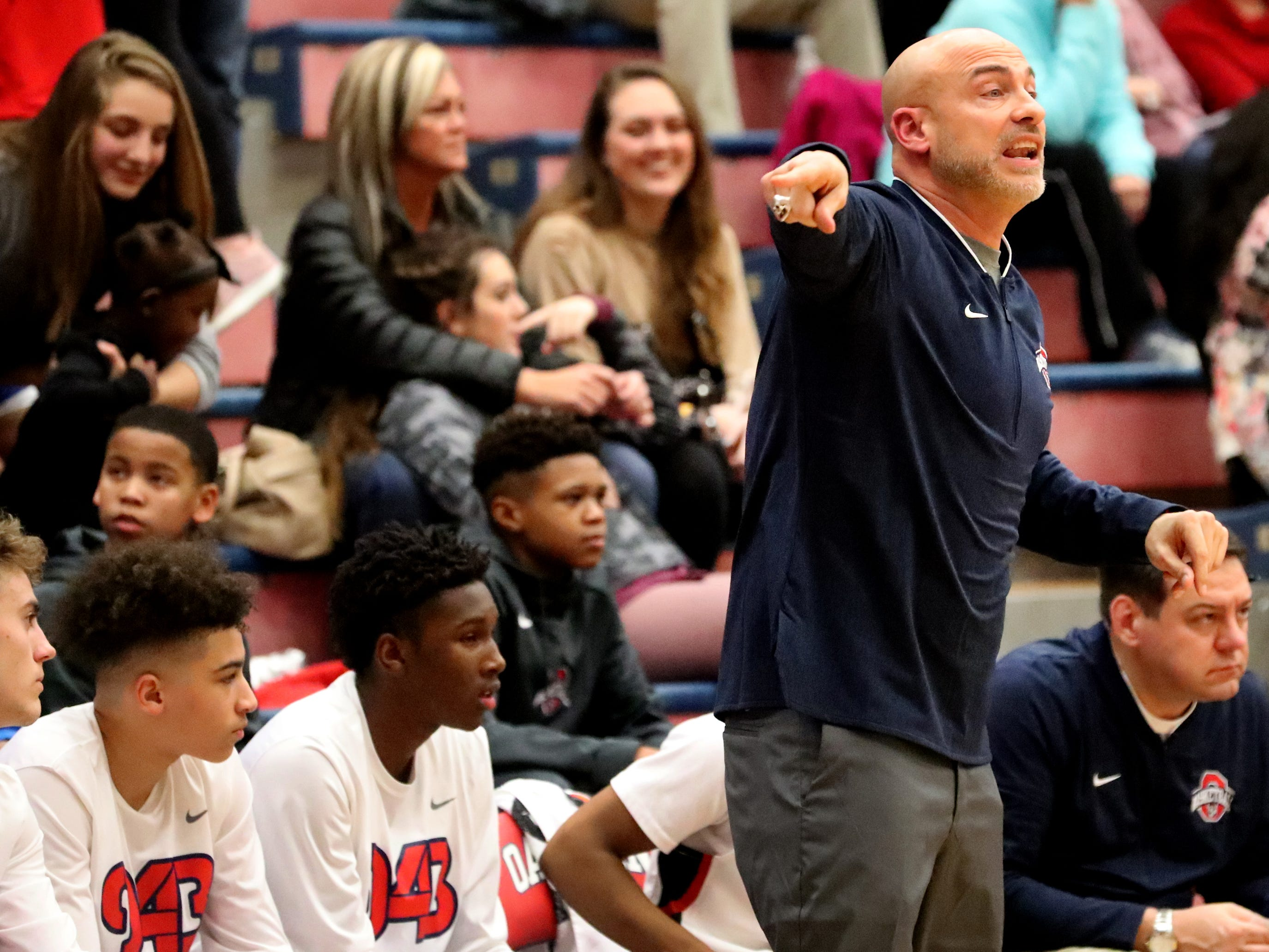 Siegel's boys head coach Dyron Birdwell on the sidelines during the game against Siegel at Oakland on Tuesday, Dec.. 4, 2018.