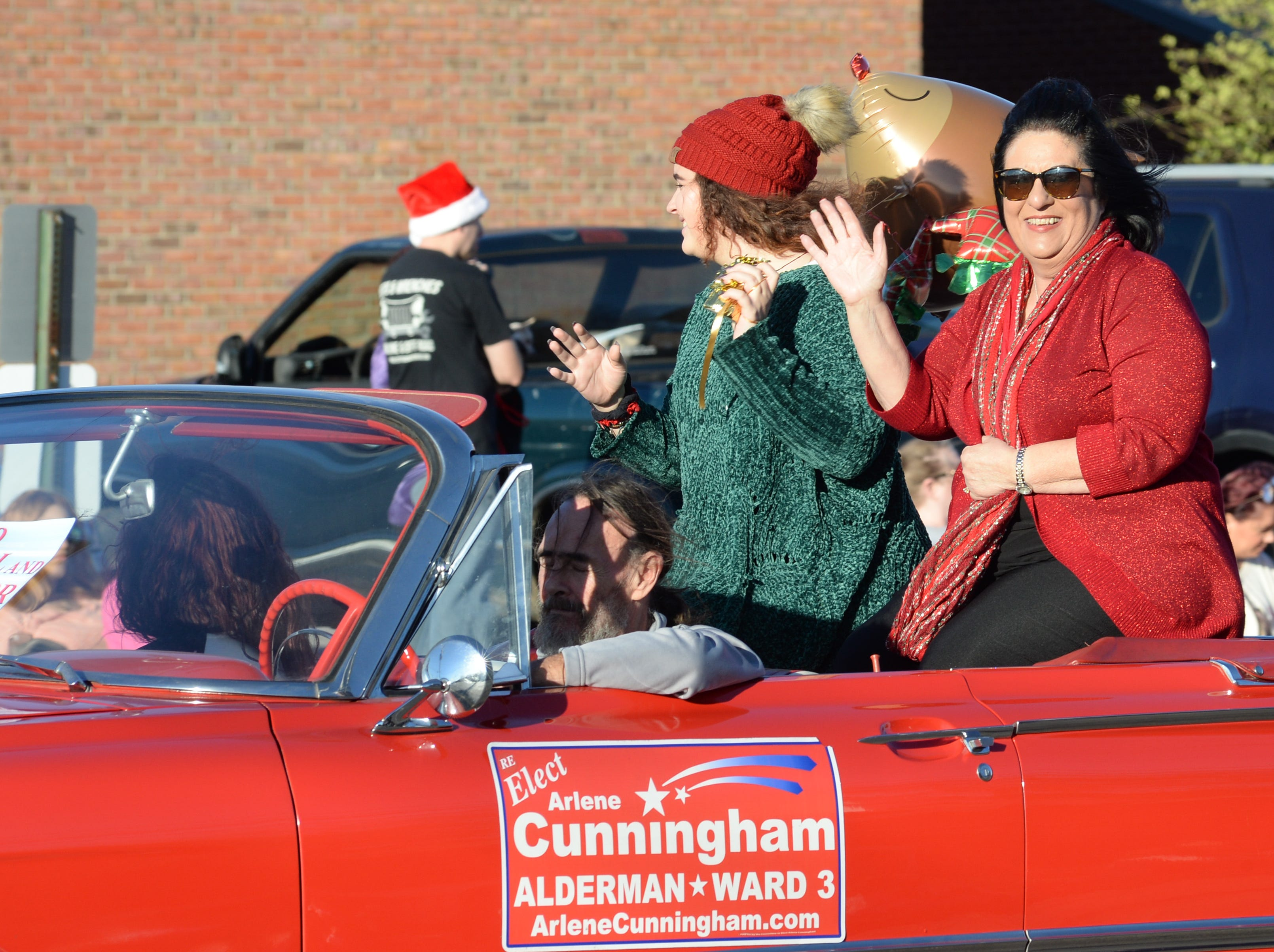 Arlene Cunningham participates in the Hendersonville Christmas Parade on Sunday, Dec. 2.
