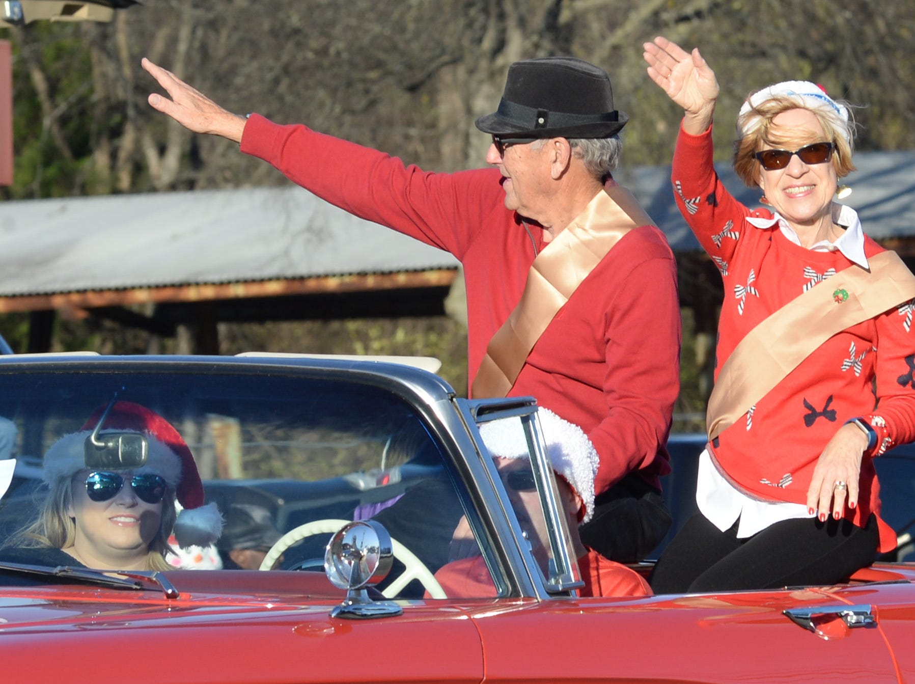 Anthony and Irene Calderon participate in the Hendersonville Christmas Parade on Sunday, Dec. 2.