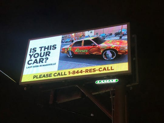 The chocolate brand Reeses posted on social media Monday, Dec. 3, 2018, that it was on the lookout for a #reesescar, an orange, Reese's branded car allegedly spotted in Nashville. One of the billboards is on West End Avenue by the Cookout.