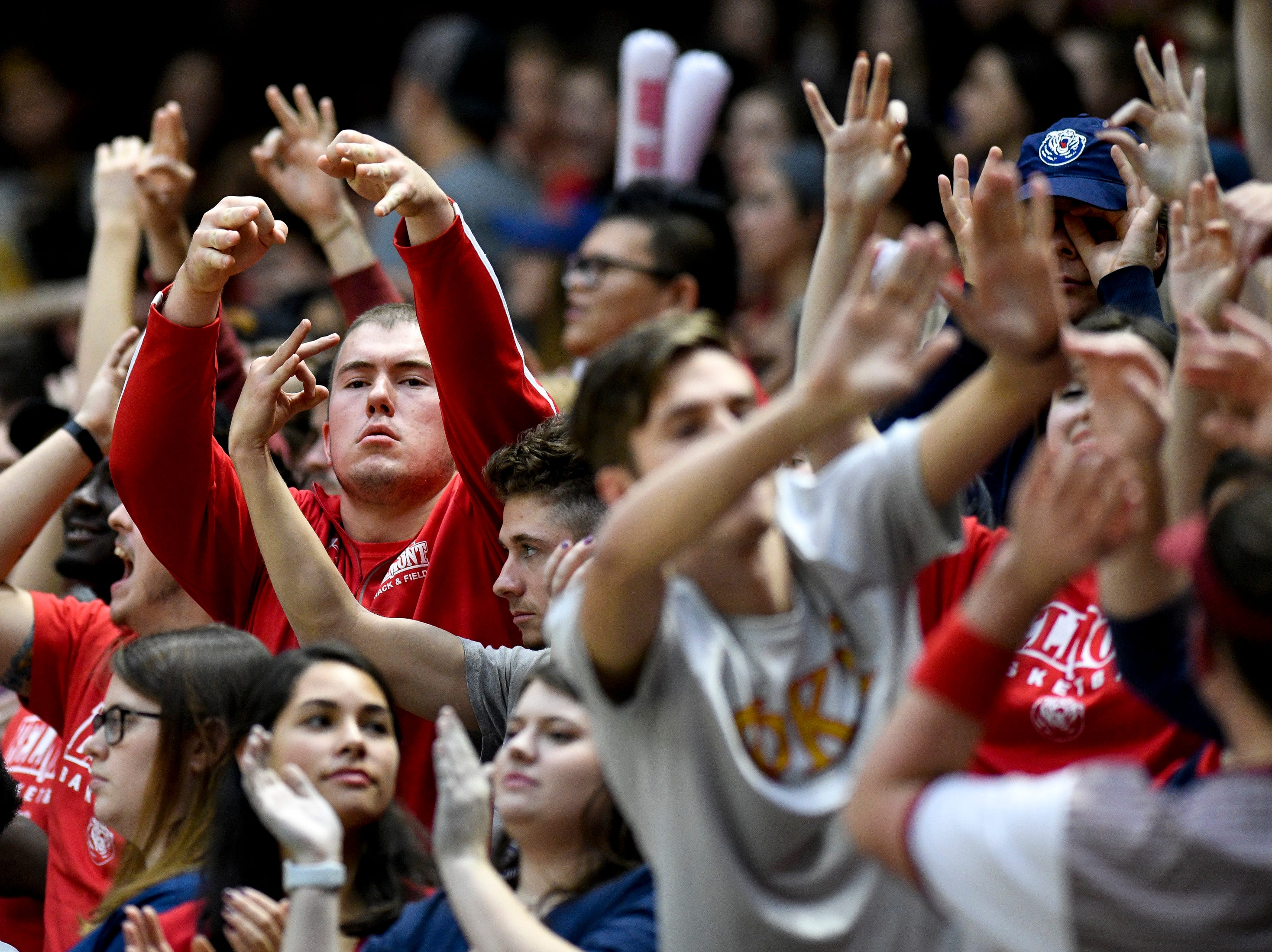 Belmont fans cheer against Lipscomb during the first half at the Curb Event Center in Nashville, Tenn., Tuesday, Dec. 4, 2018.