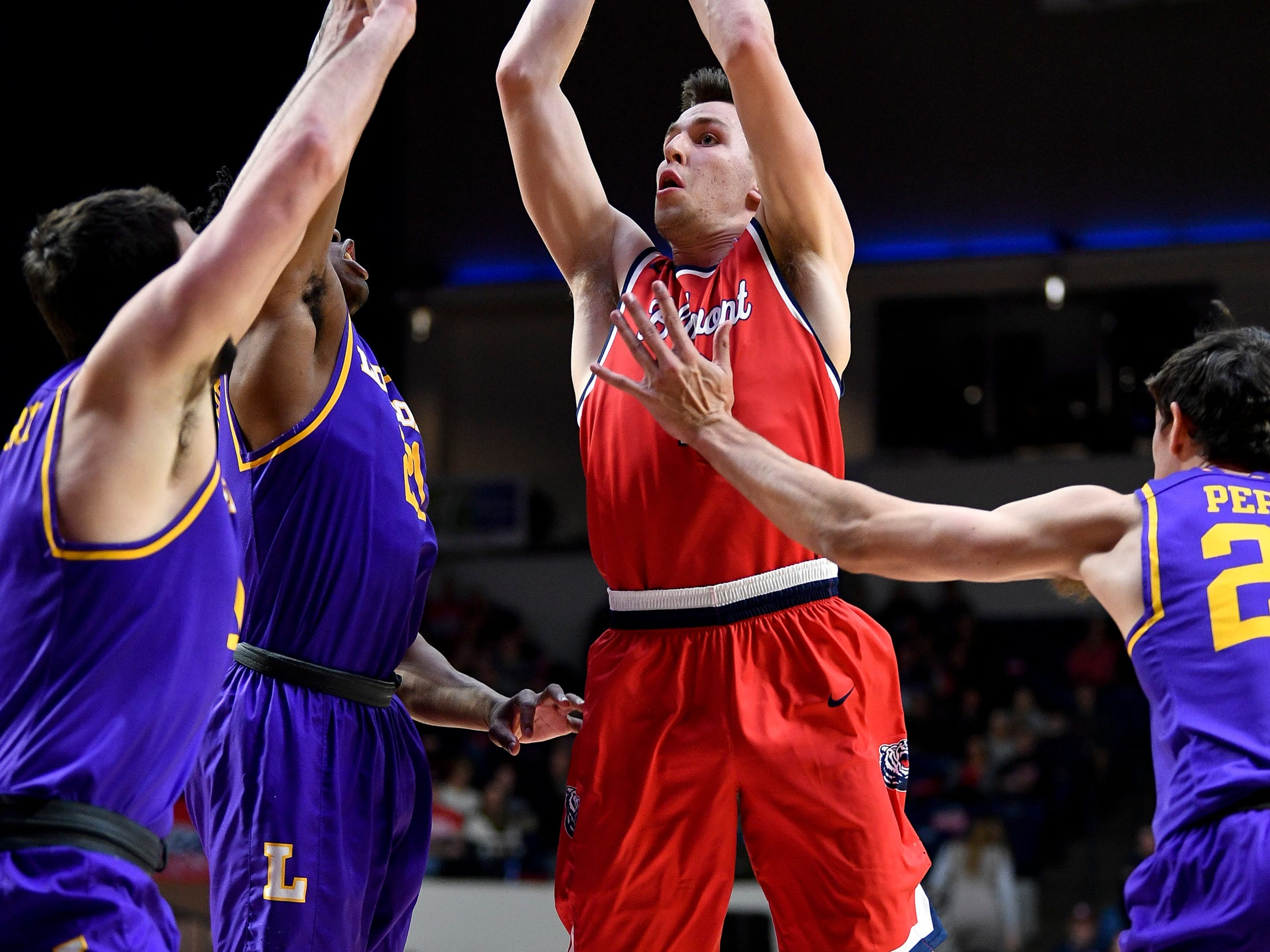 Belmont guard Grayson Murphy (2) shoots over Lipscomb guard Kenny Cooper (21) during the first half at the Curb Event Center in Nashville, Tenn., Tuesday, Dec. 4, 2018.