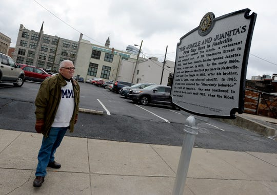 John Bridges looks at the new historical marker along Commerce Street on Tuesday, Dec. 4, 2018, dedicated to the city's first gay bars, The Jungle and Juanita's. Bridges, a Nashville writer and author, led the research effort to get a historical marker downtown.