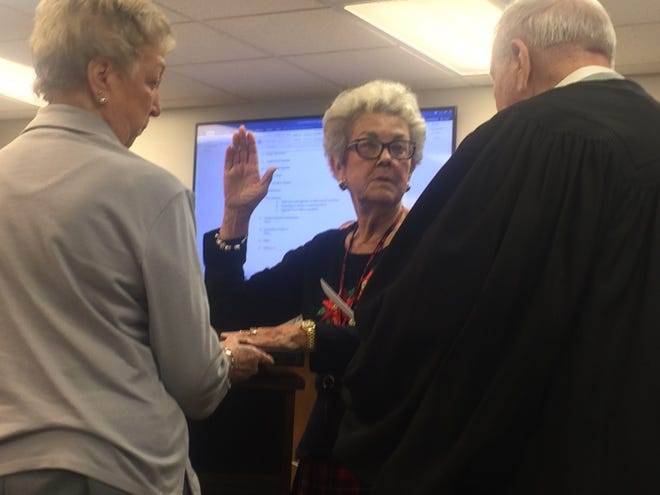 Alwilda Binkley is sworn in Tuesday, Dec. 4 after Ashland City Councilmembers appointed her to fill a vacancy.