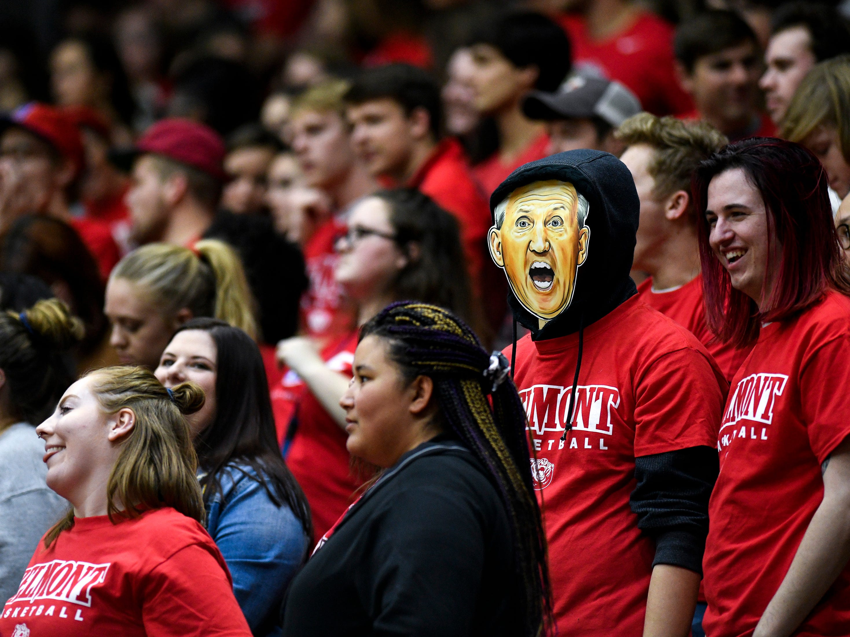 A fan wears a Belmont head coach Rick Byrd mask during the first half against Lipscomb at the Curb Event Center in Nashville, Tenn., Tuesday, Dec. 4, 2018.
