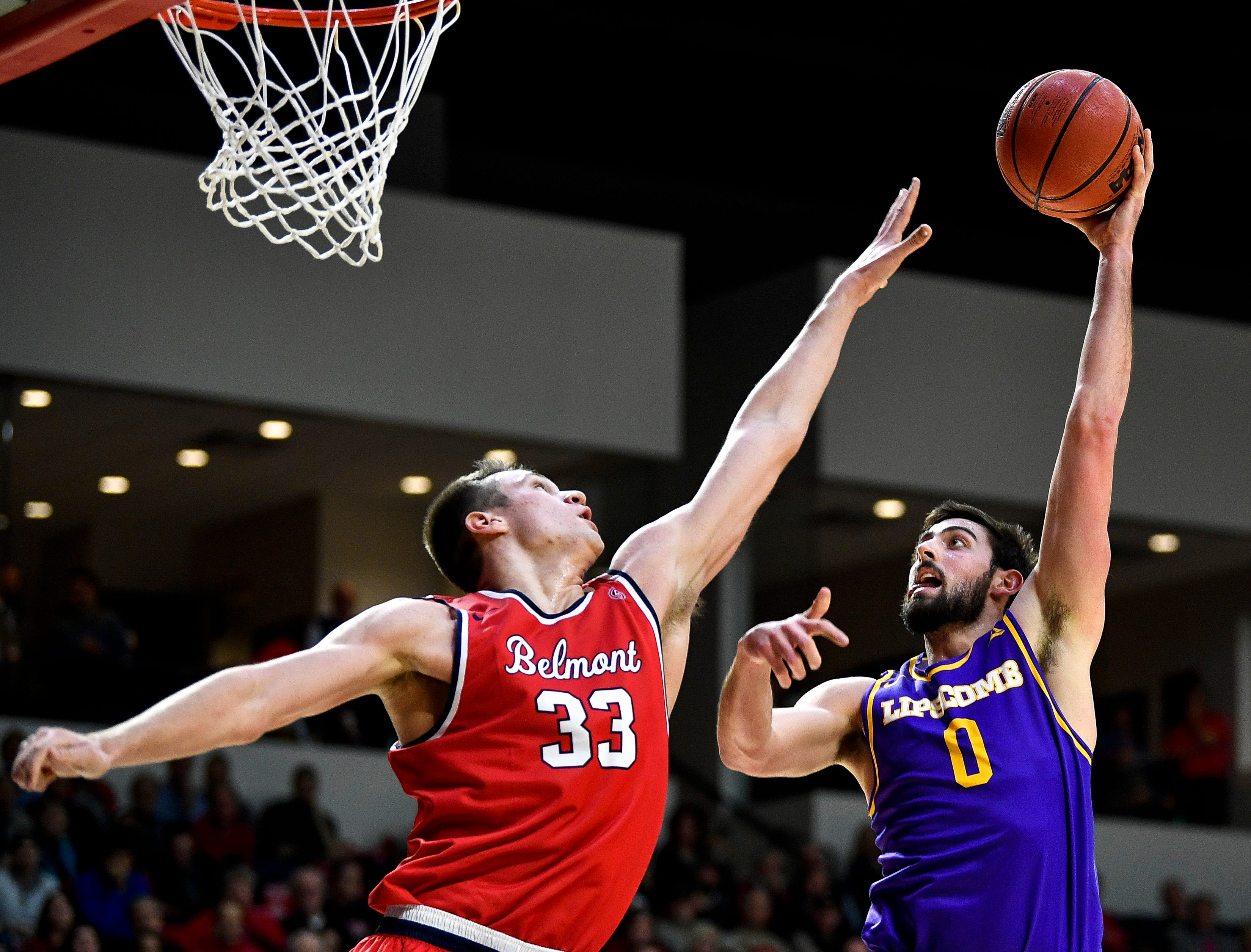 Belmont center Nick Muszynski (33) defends against Lipscomb forward Rob Marberry (0) during the second half at the Curb Event Center in Nashville, Tenn., Tuesday, Dec. 4, 2018.