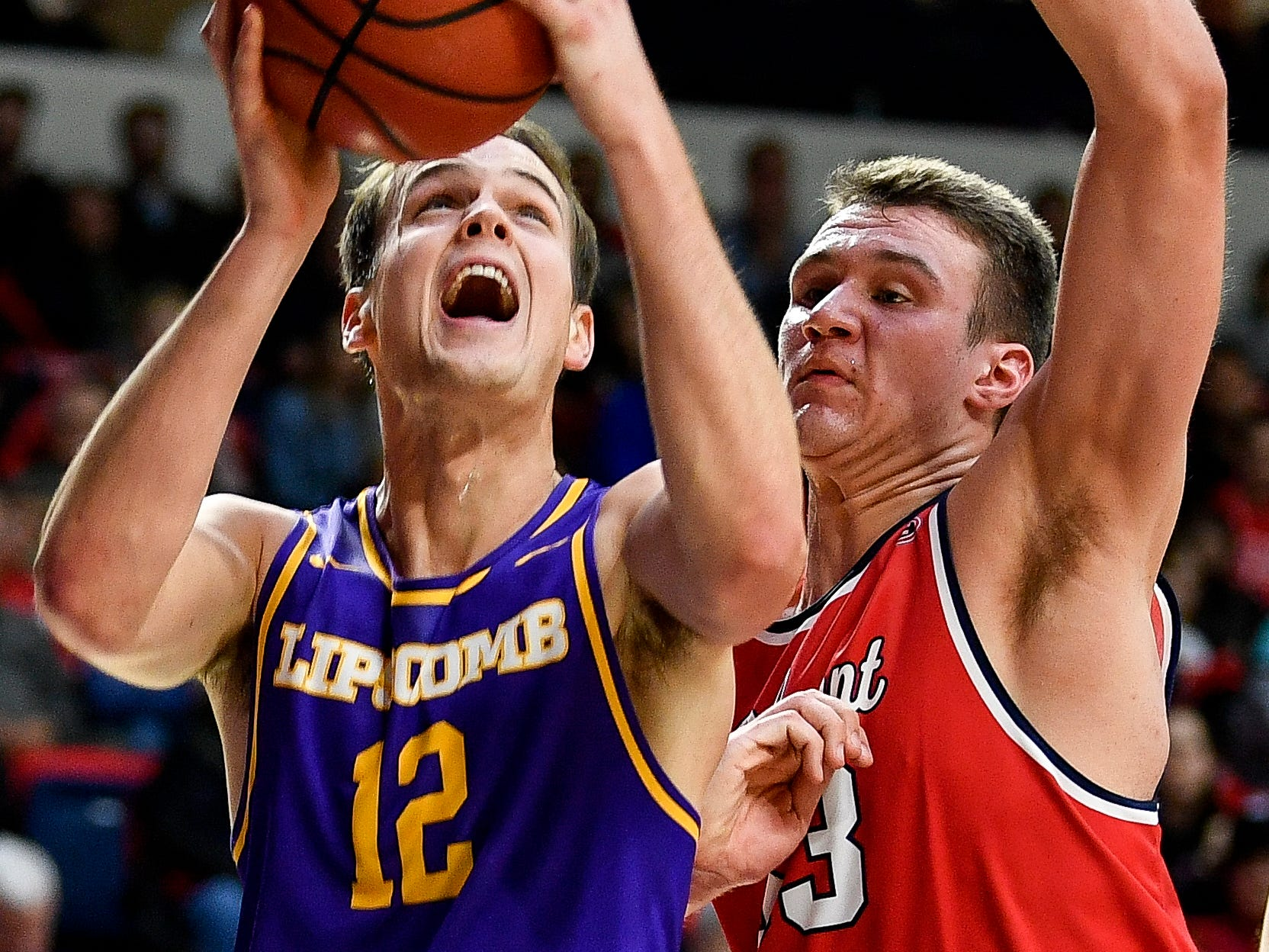 Lipscomb forward Matt Rose (12) shoots over Belmont center Nick Muszynski (33) during the second half at the Curb Event Center in Nashville, Tenn., Tuesday, Dec. 4, 2018.