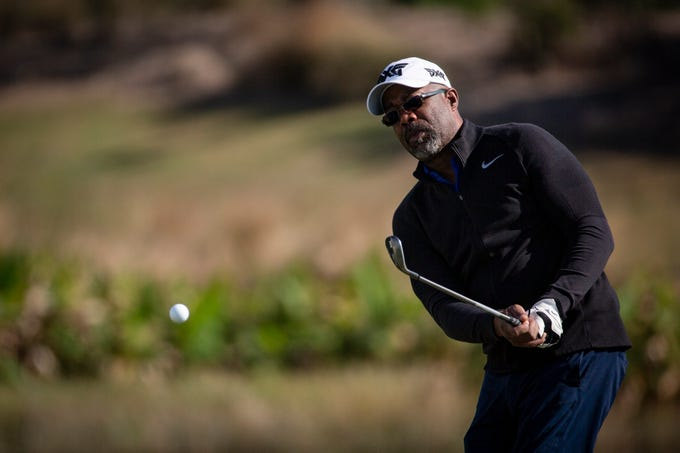 American singer-songwriter, Darius Rucker of the band Hootie & the Blowfish, tees off during the first Pro - Amateur round of the 30th annual QBE Shootout at Tiburón Golf Club on Wednesday, Dec. 5, 2018.