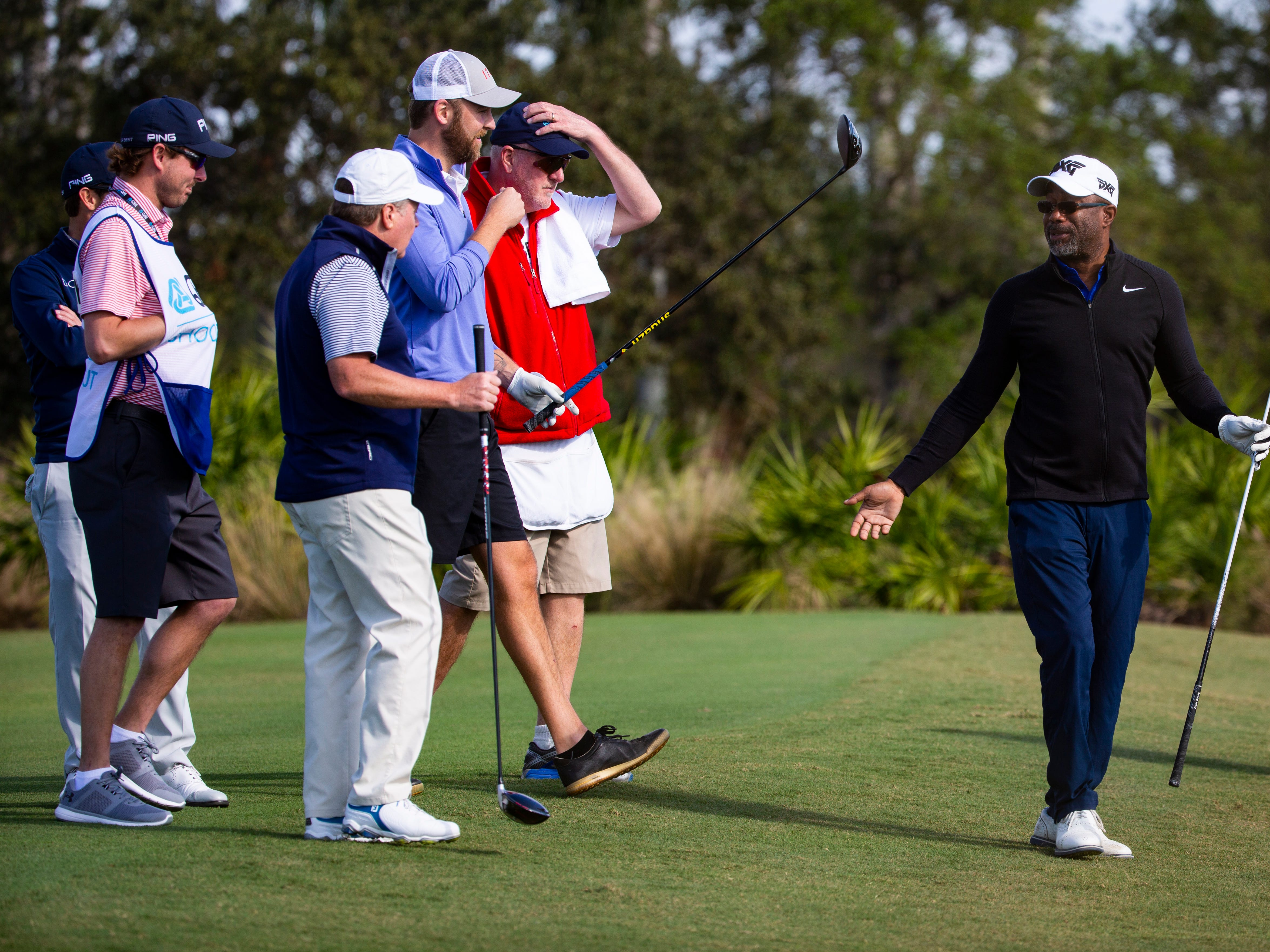 American singer-songwriter, Darius Rucker of the band Hootie & the Blowfish, reacts after a swing during the first Pro - Amateur round of the 30th annual QBE Shootout at Tiburón Golf Club on Wednesday, Dec. 5, 2018.