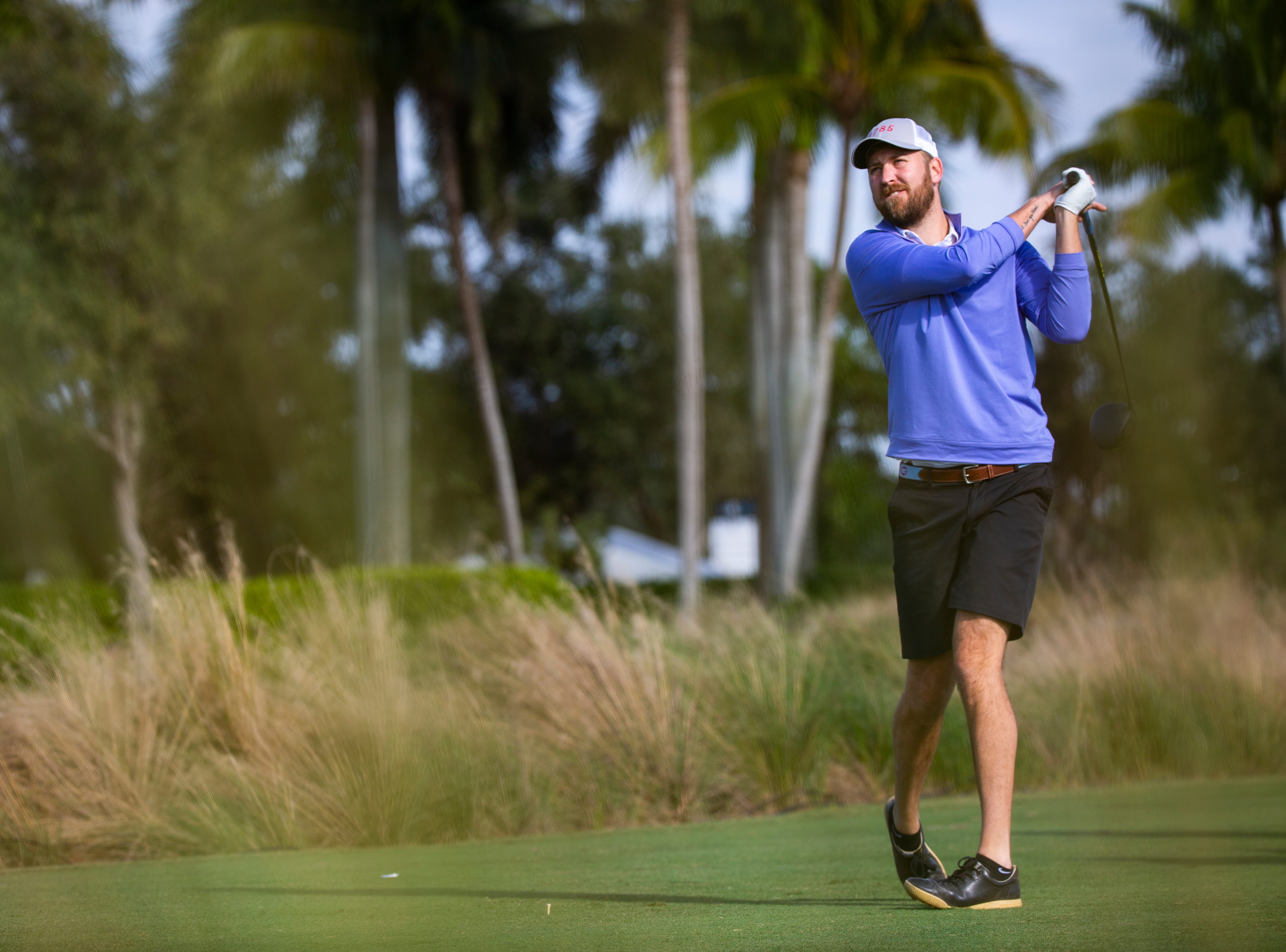 American singer-songwriter, Charles Kelley of country music trio, Lady Antebellum, tees off during the first Pro - Amateur round of the 30th annual QBE Shootout at Tiburón Golf Club on Wednesday, Dec. 5, 2018.