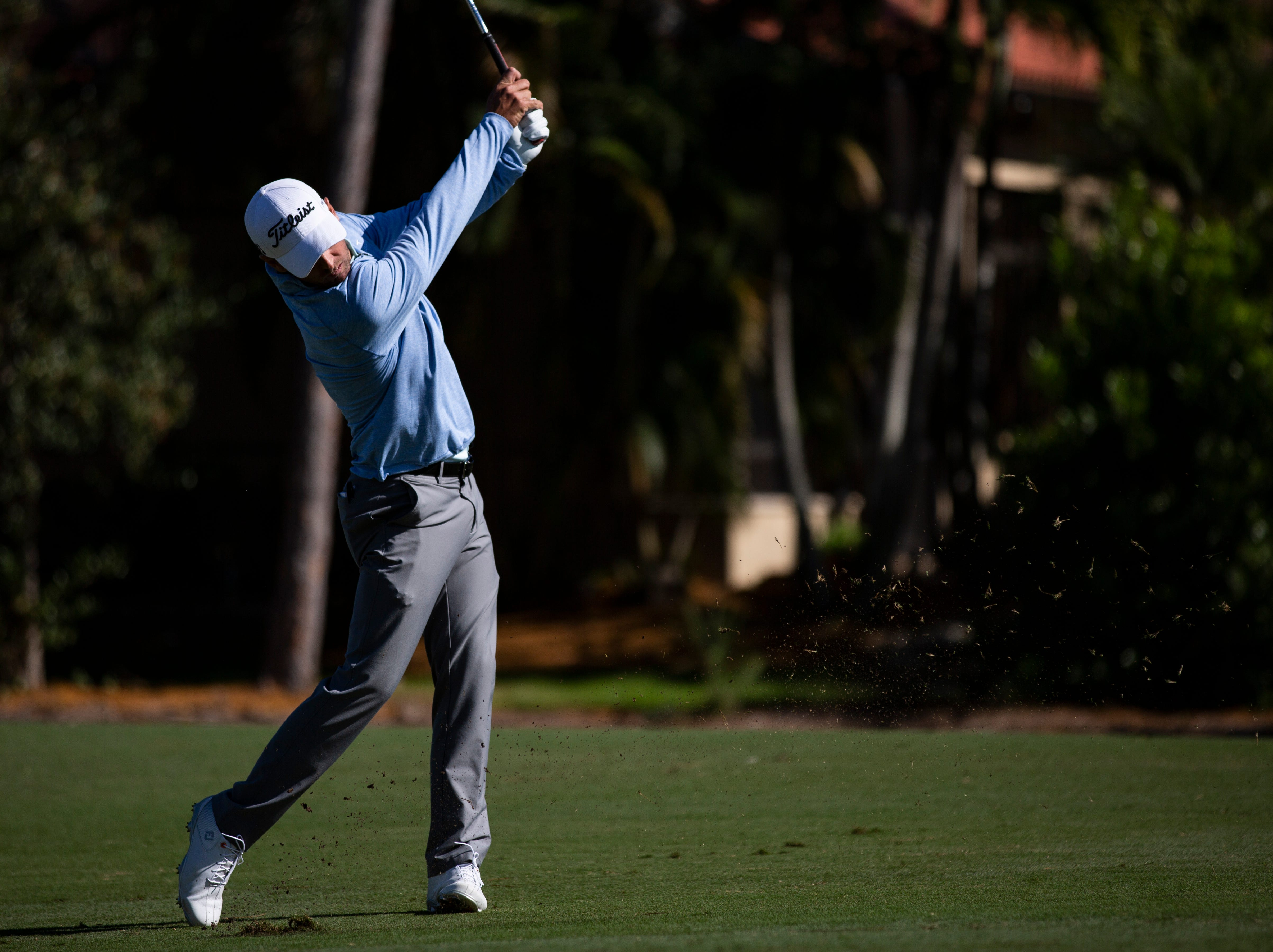Charles Howell III of Georgia, tees off during the first Pro - Amateur round of the 30th annual QBE Shootout at Tiburón Golf Club on Wednesday, Dec. 5, 2018.