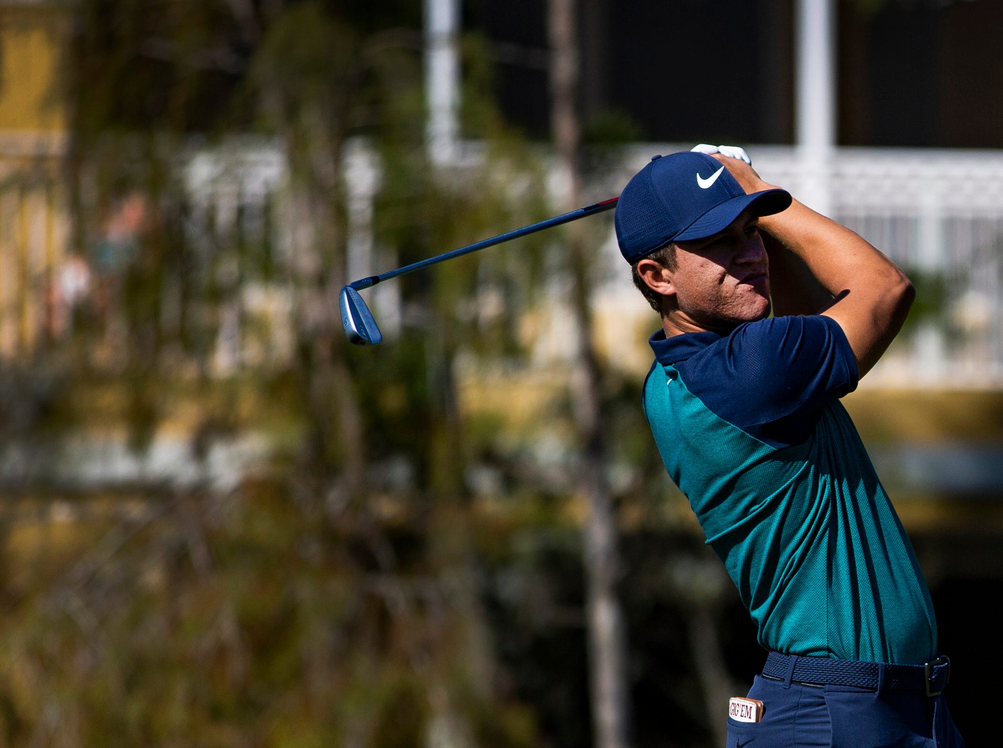 Cameron Champ of California, watches the ball after teeing off during the first Pro - Amateur round of the 30th annual QBE Shootout at Tiburón Golf Club on Wednesday, Dec. 5, 2018.