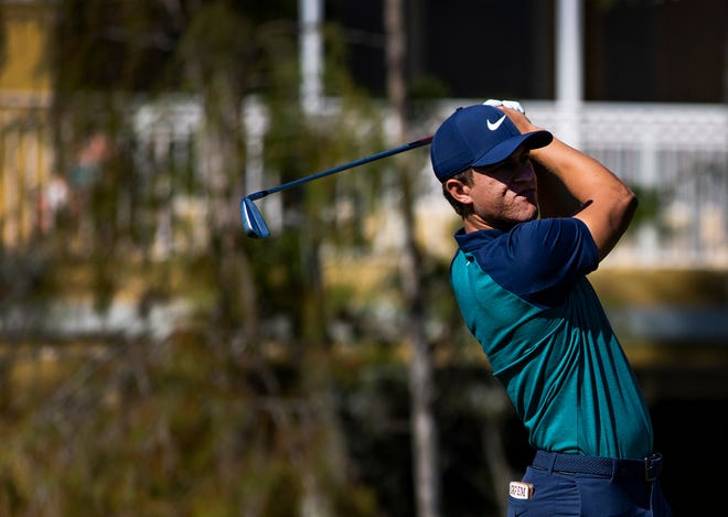 Cameron Champ of California watches the ball after teeing off during the first pro-am round of the 30th annual QBE Shootout at Tiburón Golf Club on Wednesday.