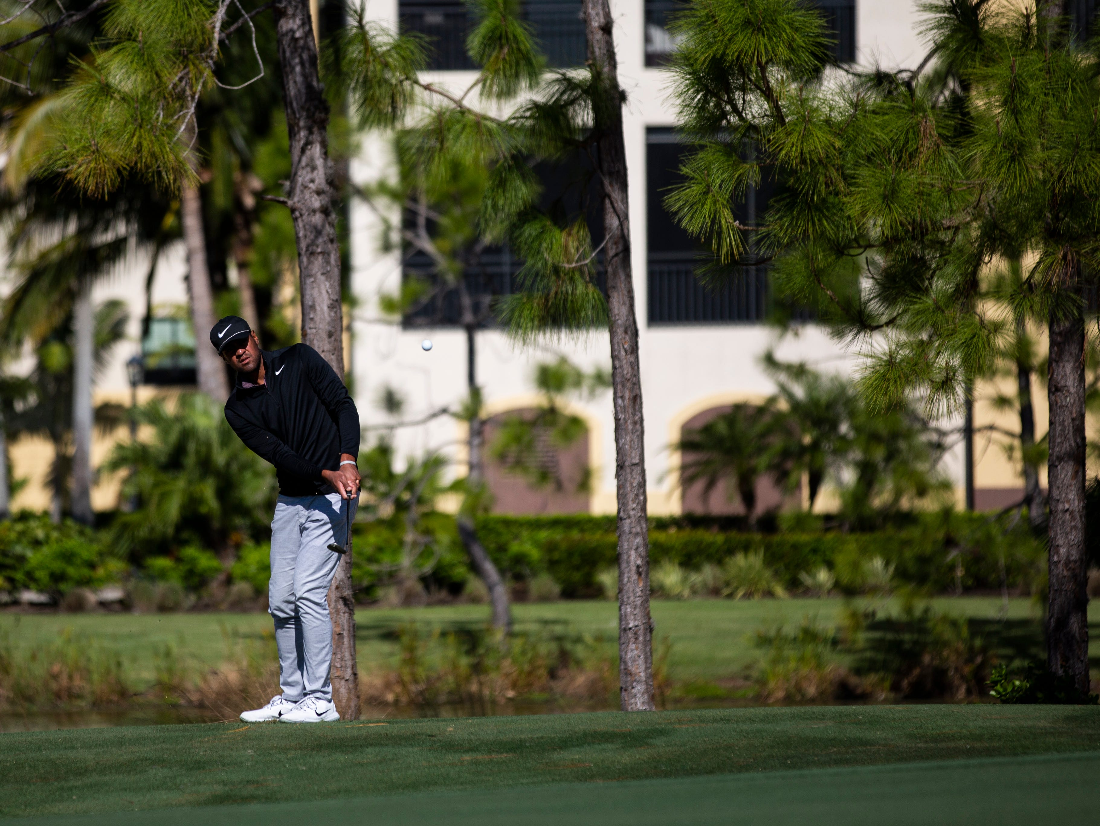 Tony Finau of Utah, tees off during the first Pro - Amateur round of the 30th annual QBE Shootout at Tiburón Golf Club on Wednesday, Dec. 5, 2018.