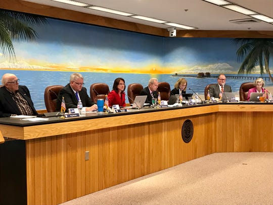 The Naples City Council, from left: Reg Buxton, Vice Mayor Gary Price, Michelle McLeod, Mayor Bill Barnett, Ellen Siegel, Terry Hutchison and Linda Penniman.
