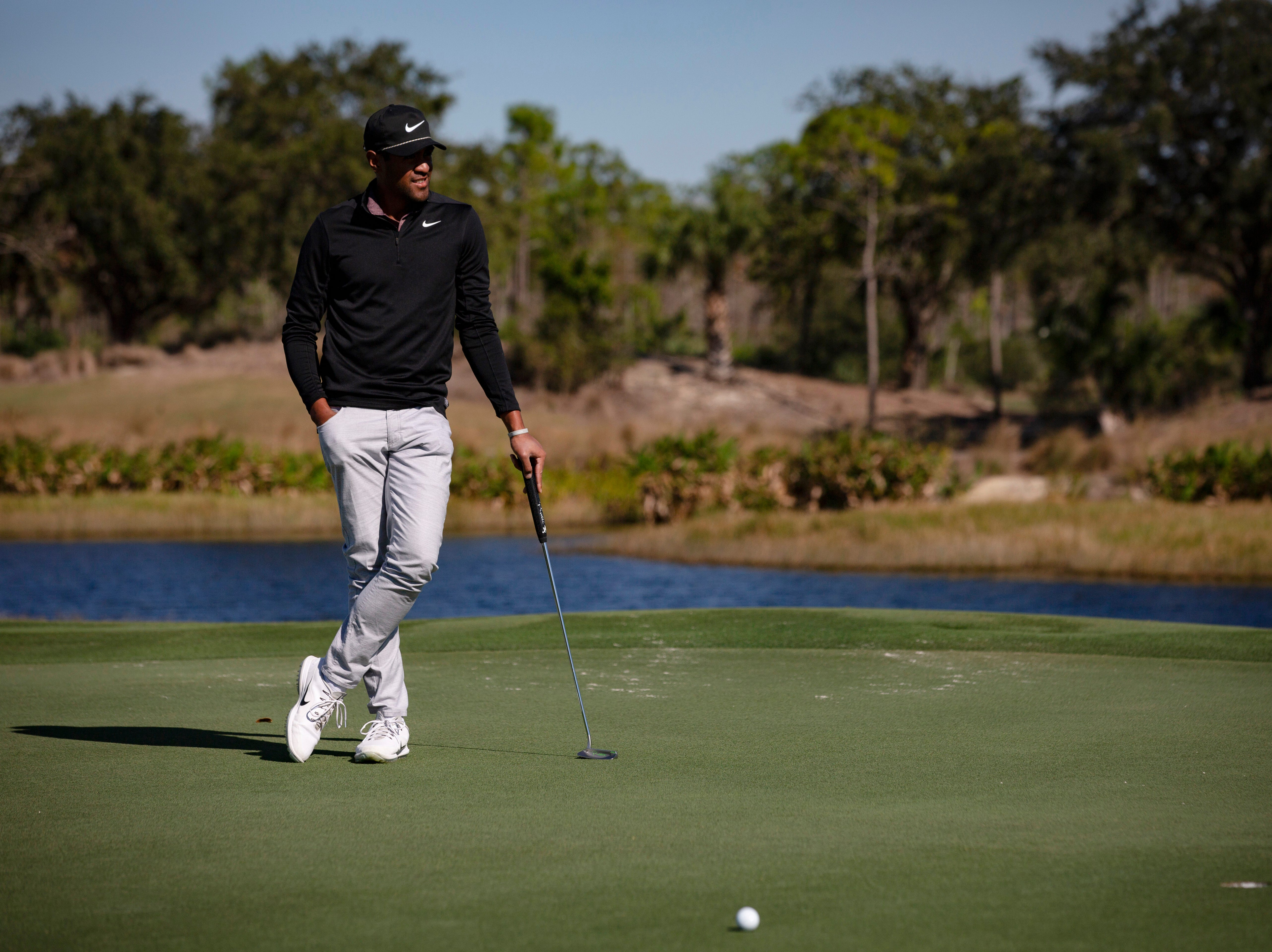 Tony Finau of Utah, waits to take his swing during the first Pro - Amateur round of the 30th annual QBE Shootout at Tiburón Golf Club on Wednesday, Dec. 5, 2018.