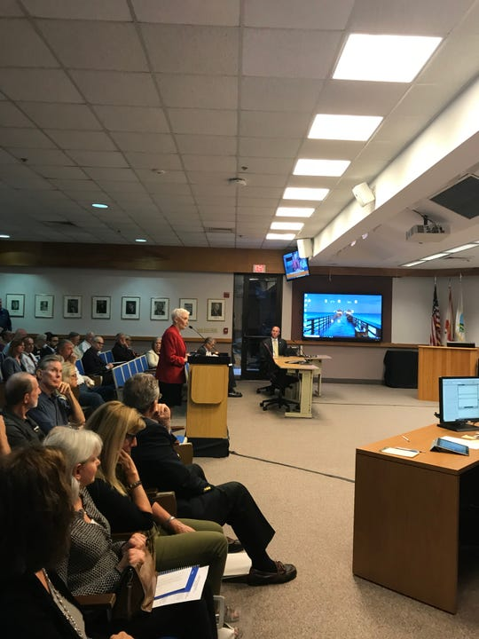 Nancy Lascheid, co-founder of Neighborhood Health Clinic, addresses the Naples City Council on Wednesday about the physicians admissions policy in the works at the NCH Healthcare System.