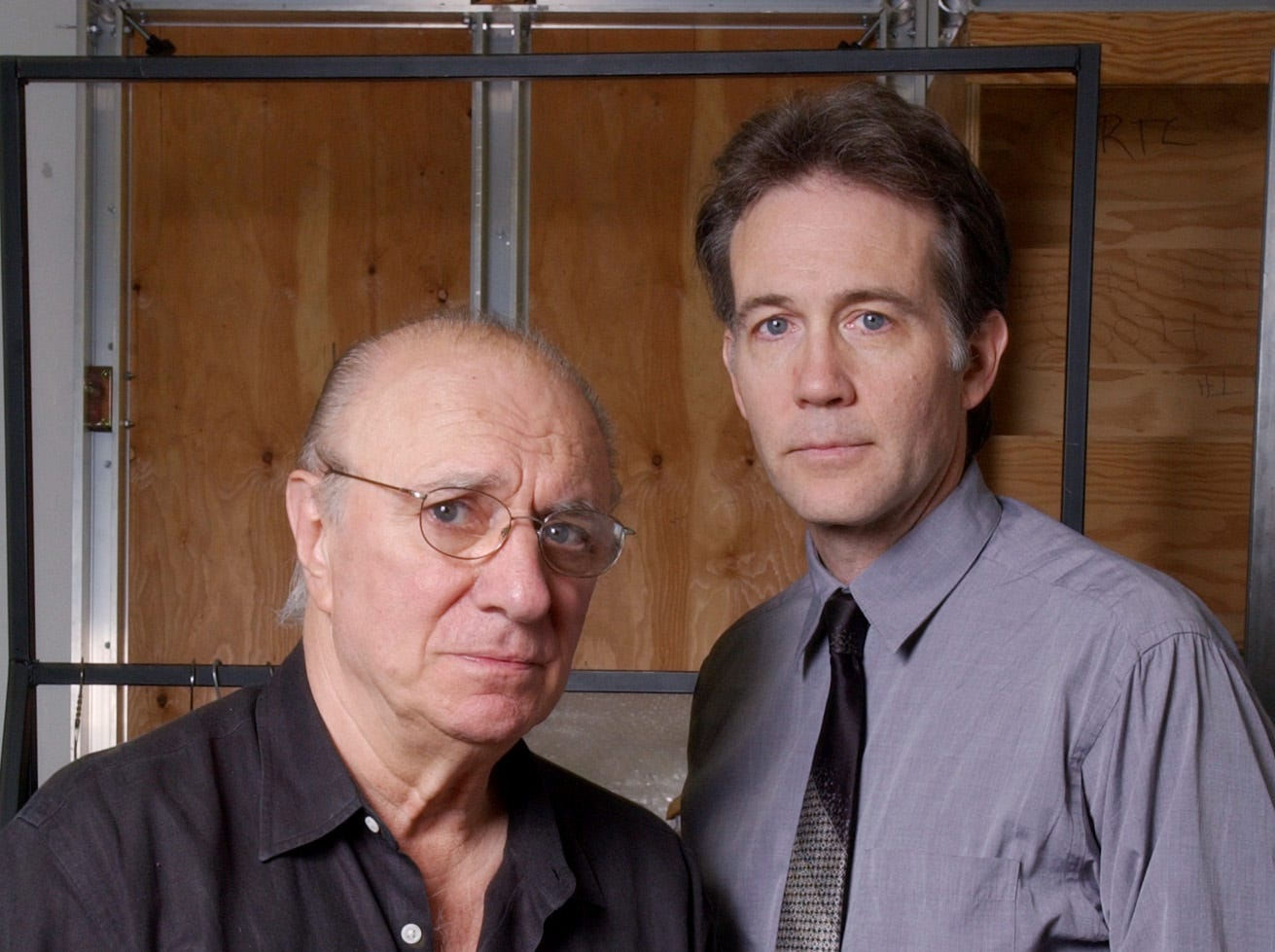"Actors Philip Bosco, left,  who plays Juror 3, and Boyd Gaines, Juror 8, in the  Roundabout Theatre Company production of ""Twelve Angry Men"" pose for a photograph at a New York rehearsal studio Sept. 14, 2004. (AP Photo/Richard Drew)"