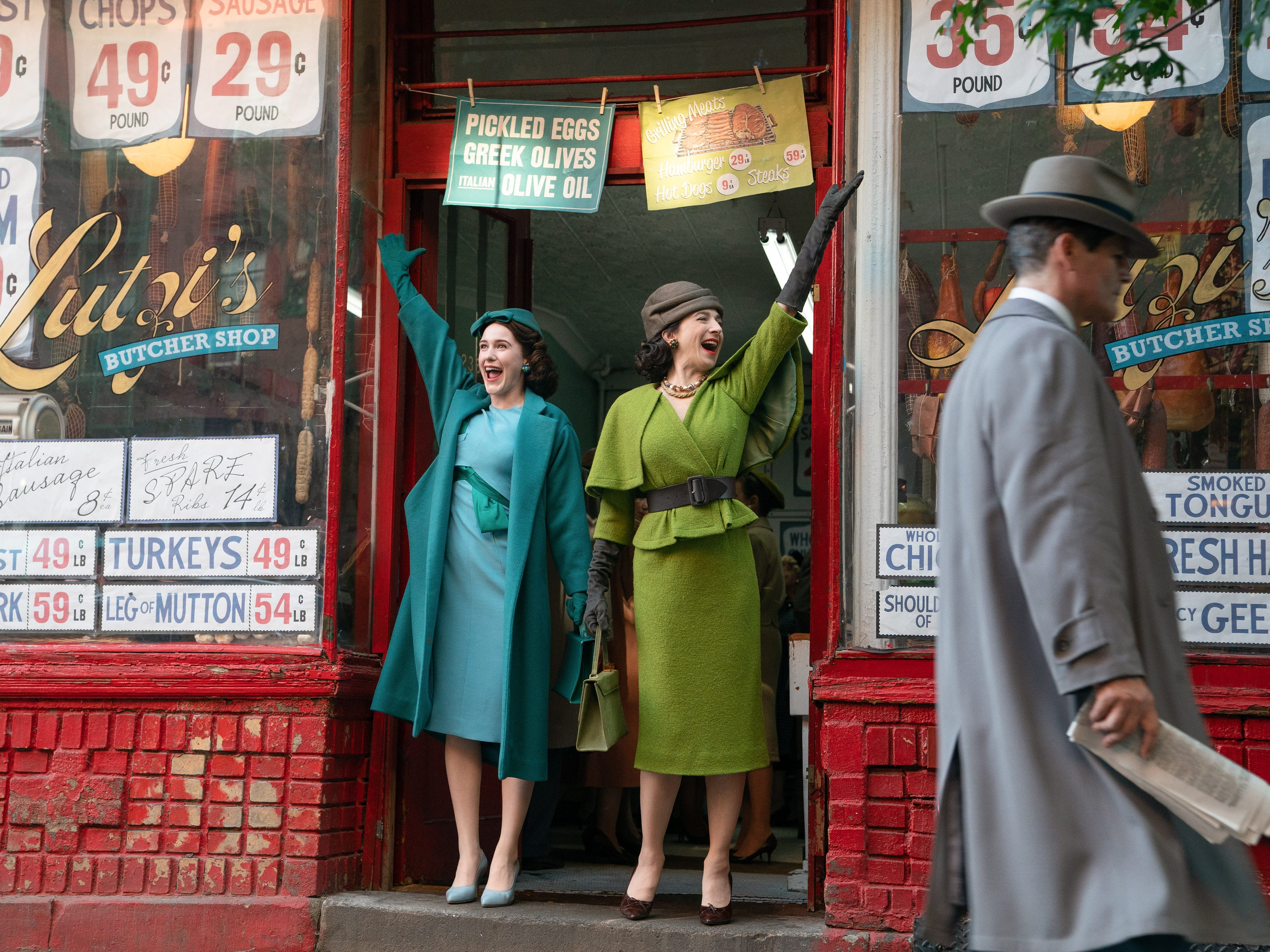 """Rachel Brosnahan stars as Miriam """"Midge"""" Maisel and Marin Hinkle is Rose Weissman, Midge's mother, in season two of the Amazon Prime Video series """"The Marvelous Mrs. Maisel."""""""