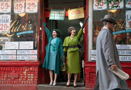 "Rachel Brosnahan stars as Miriam ""Midge"" Maisel and Marin Hinkle is Rose Weissman, Midge's mother, in season two of the Amazon Prime Video series ""The Marvelous Mrs. Maisel."""