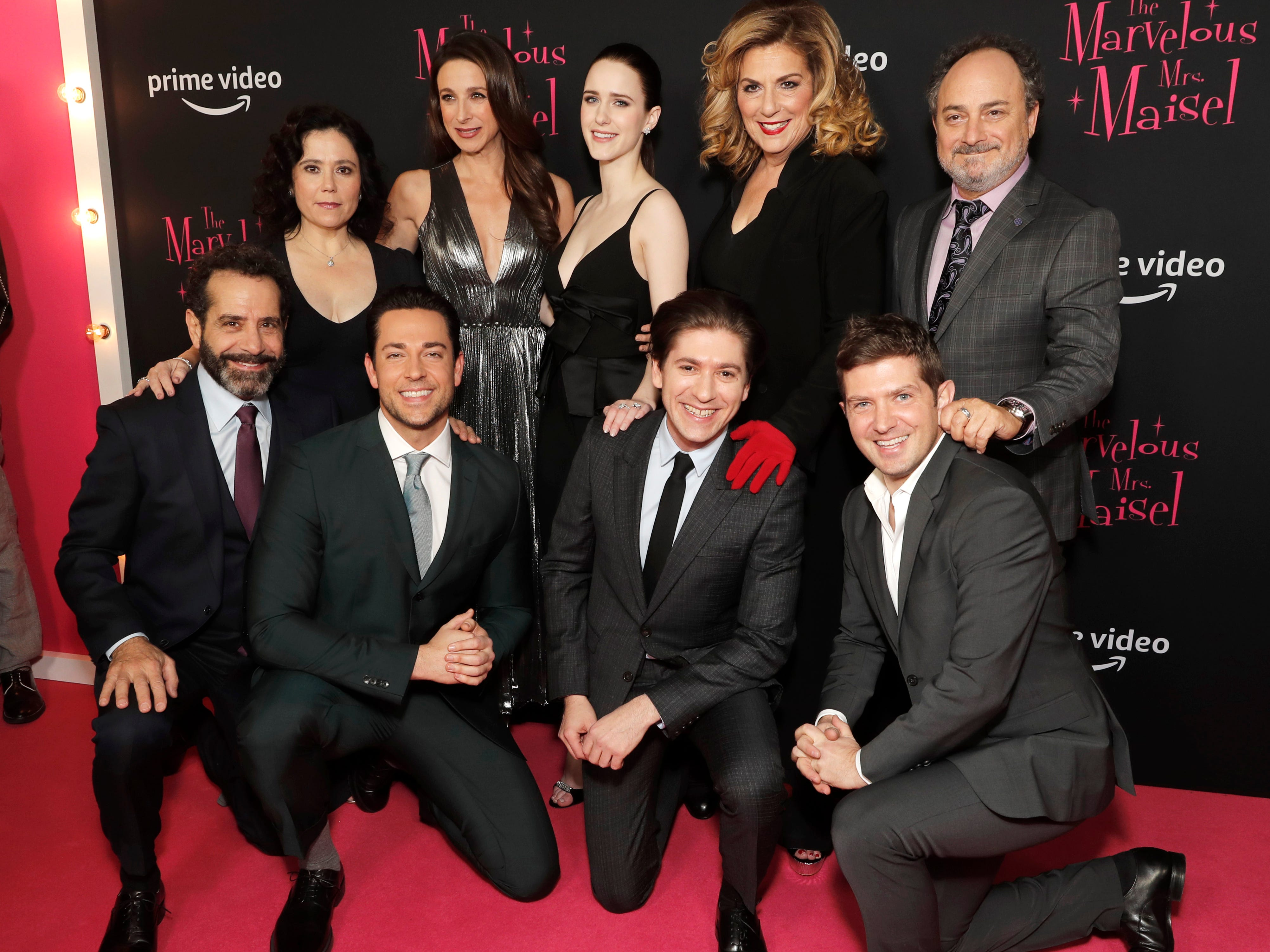 "Tony Shalhoub, Zachary Levi, Michael Zegen, Joel Johnstone, Alex Borstein, Marin Hinkle, Rachel Brosnahan, Caroline Aaron and Kevin Pollak at the premiere of season two of ""The Marvelous Mrs. Maisel"" Nov. 29, 2018 at The Paris Theatre in New York City."