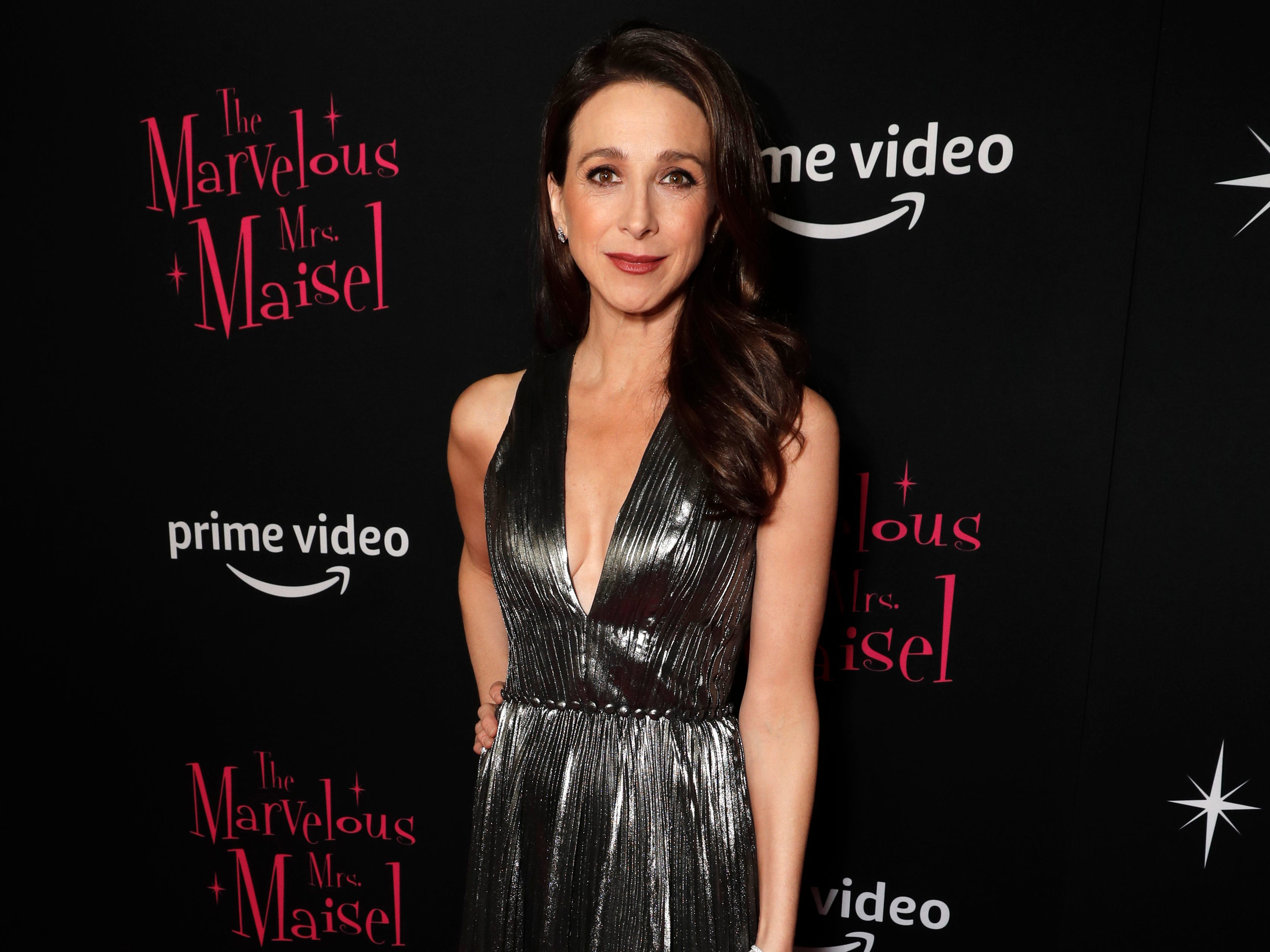 "Marin Hinkle at the premiere of season two of ""The Marvelous Mrs. Maisel"" Nov. 29, 2018 at The Paris Theatre in New York City."