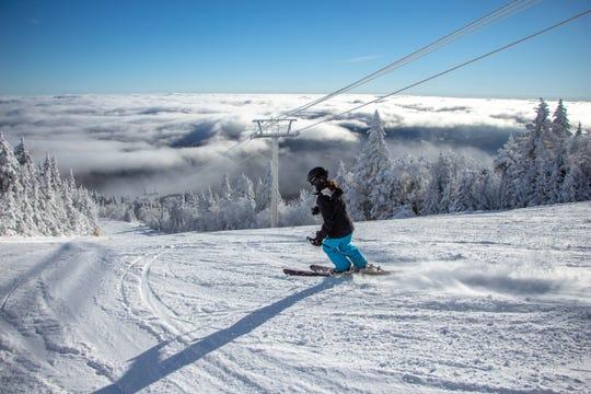 A skier enjoys the slopes at Stratton Mountain.