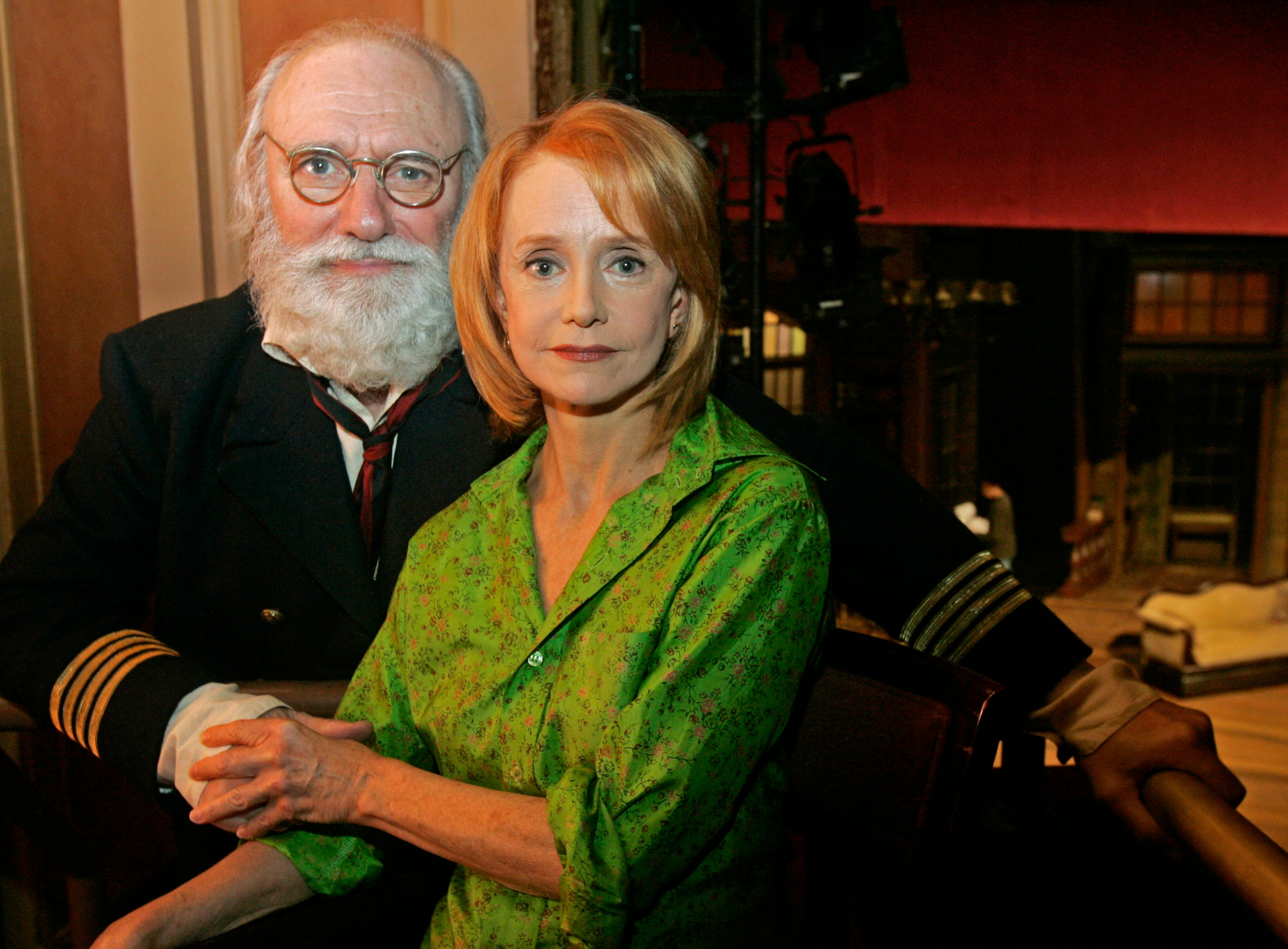 "Actors Philip Bosco and Swoosie Kurtz, who are appearing in George Bernard Shaw's ""Heartbreak House,"" pose at the American Airlines Theatre in New York, Oct. 6, 2006. (AP Photo/Frank Franklin II)"