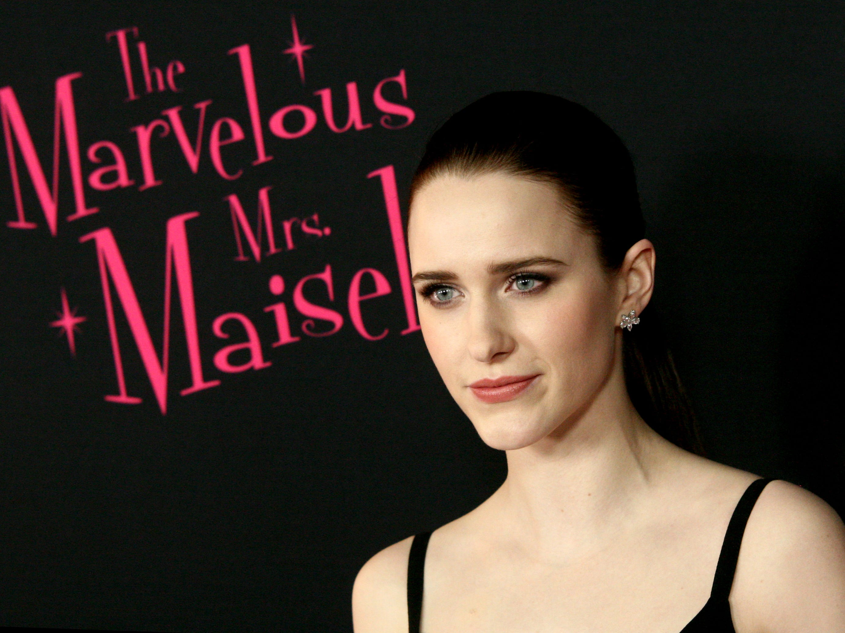 "Rachel Brosnahan at the premiere of season two of ""The Marvelous Mrs. Maisel"" Nov. 29, 2018 at The Paris Theatre in New York City."