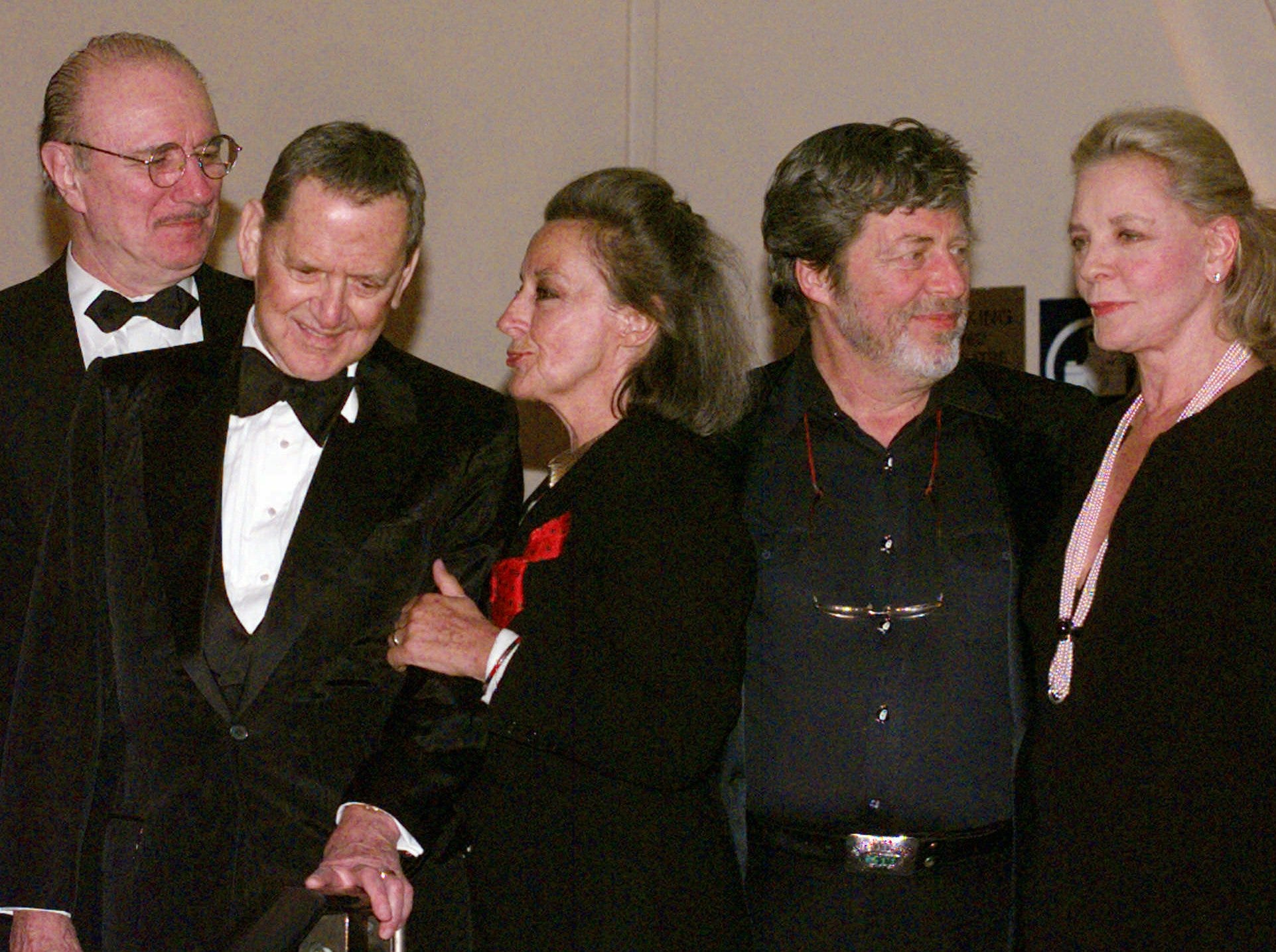 Attending the 27th Annual Theatre Hall of Fame Ceremonies in New York, Monday, Feb. 2, 1998 are, left to right: Philip Bosco, Tony Randall, Zoe Caldwell, Tony Walton and Lauren Bacall. Caldwell and Walton are in the Hall of Fame; Bosco, Randall and Bacall are being inducted Monday evening. (AP Photo/Mark Lennihan)