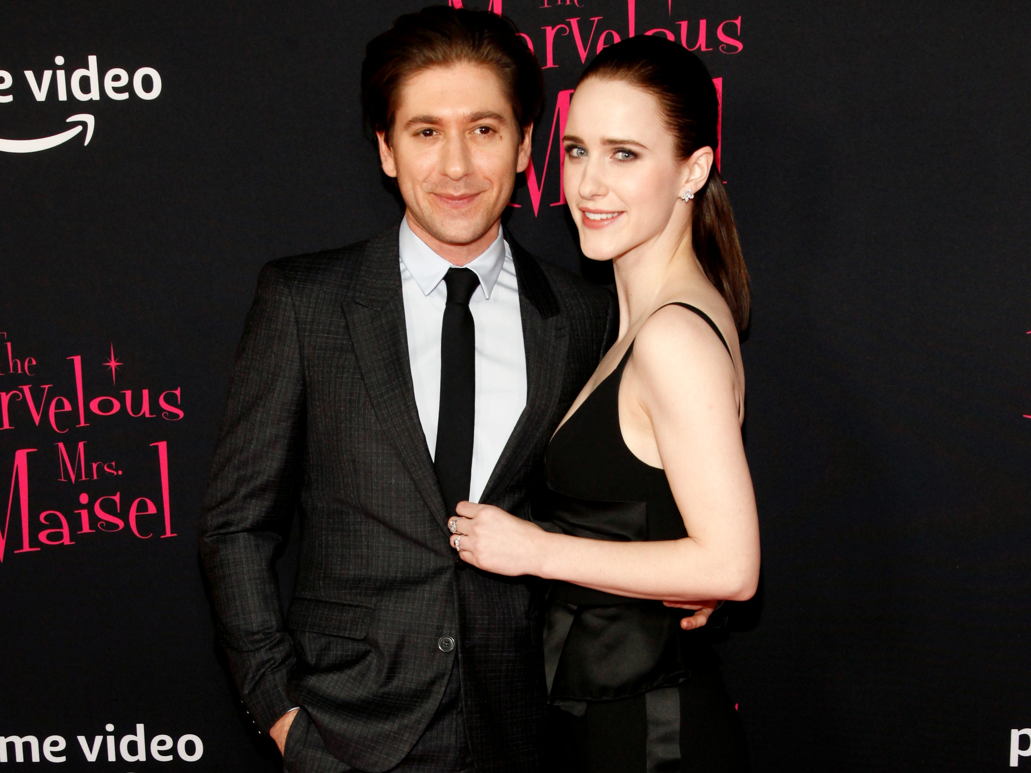 "Michael Zegen and  Rachel Brosnahan at the premiere of season two of ""The Marvelous Mrs. Maisel"" Nov. 29, 2018 at The Paris Theatre in New York City."