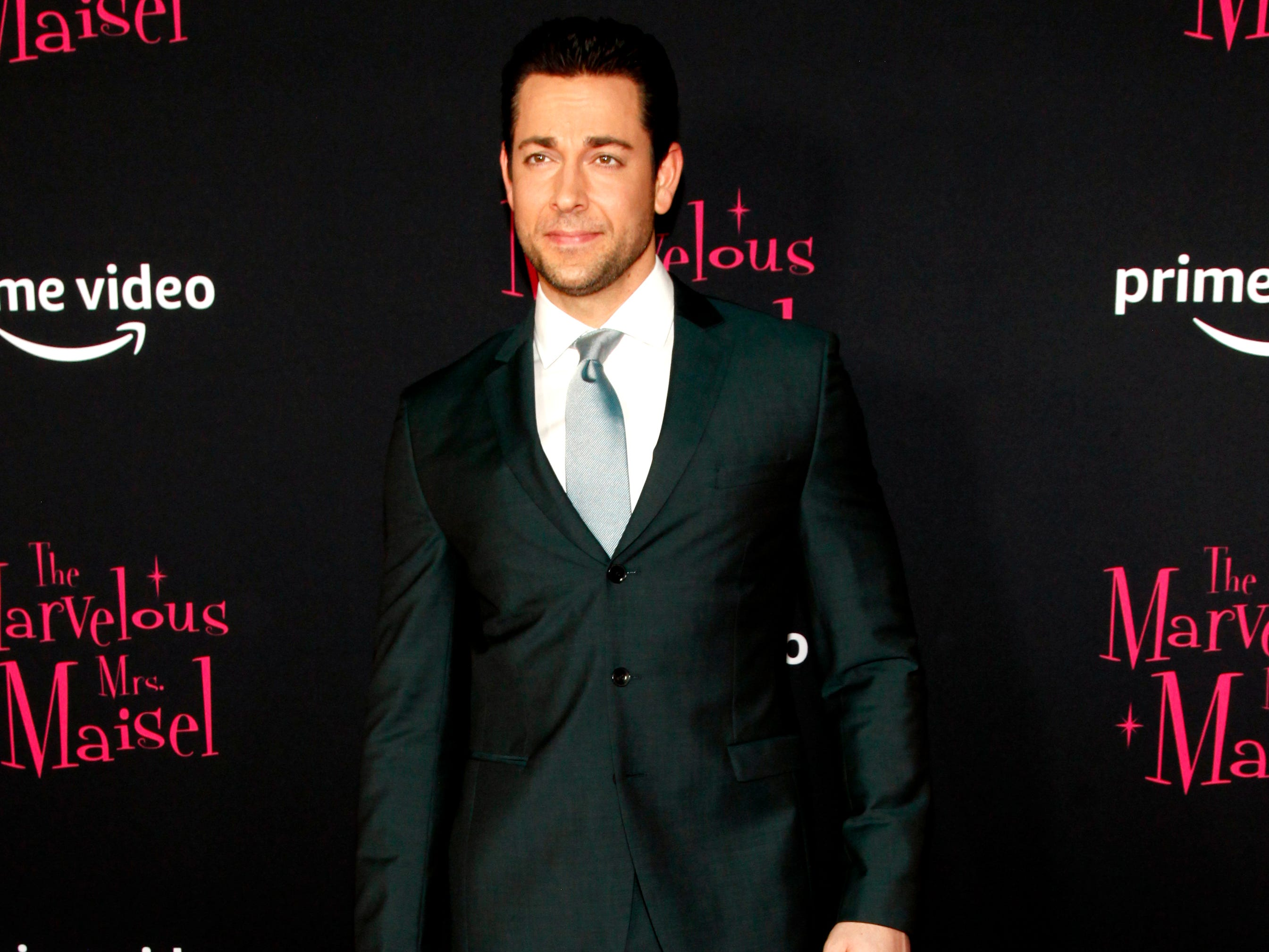"Zachary Levi at the premiere of season two of ""The Marvelous Mrs. Maisel"" Nov. 29, 2018 at The Paris Theatre in New York City."