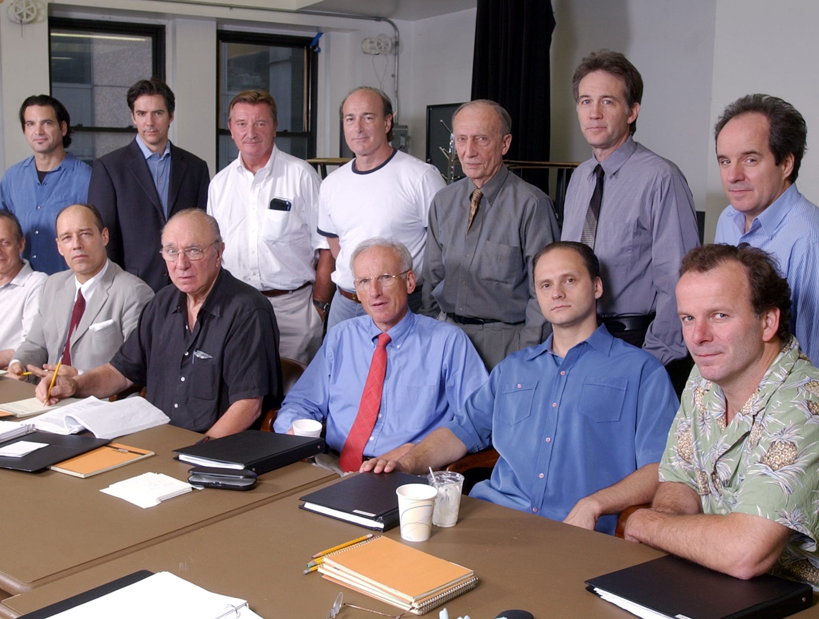 "The cast of the Roundabout Theatre's Broadway production of ""Twelve Angry Men"" pose for a photograph at a New York rehearsal studio Sept. 14, 2004. They are, back row from left, Matte Osian, Adam Trese, Larry Bryggman, Peter Friedman, Tom Aldredge, Boyd Gaines, and John Pankow. In the front row, from leftt, are Mark Blum, Kevin Greer, Philip Bosco, James Rebhorn, Michael Mastro and Michael Clohessy. (AP Photo/Richard Drew)"