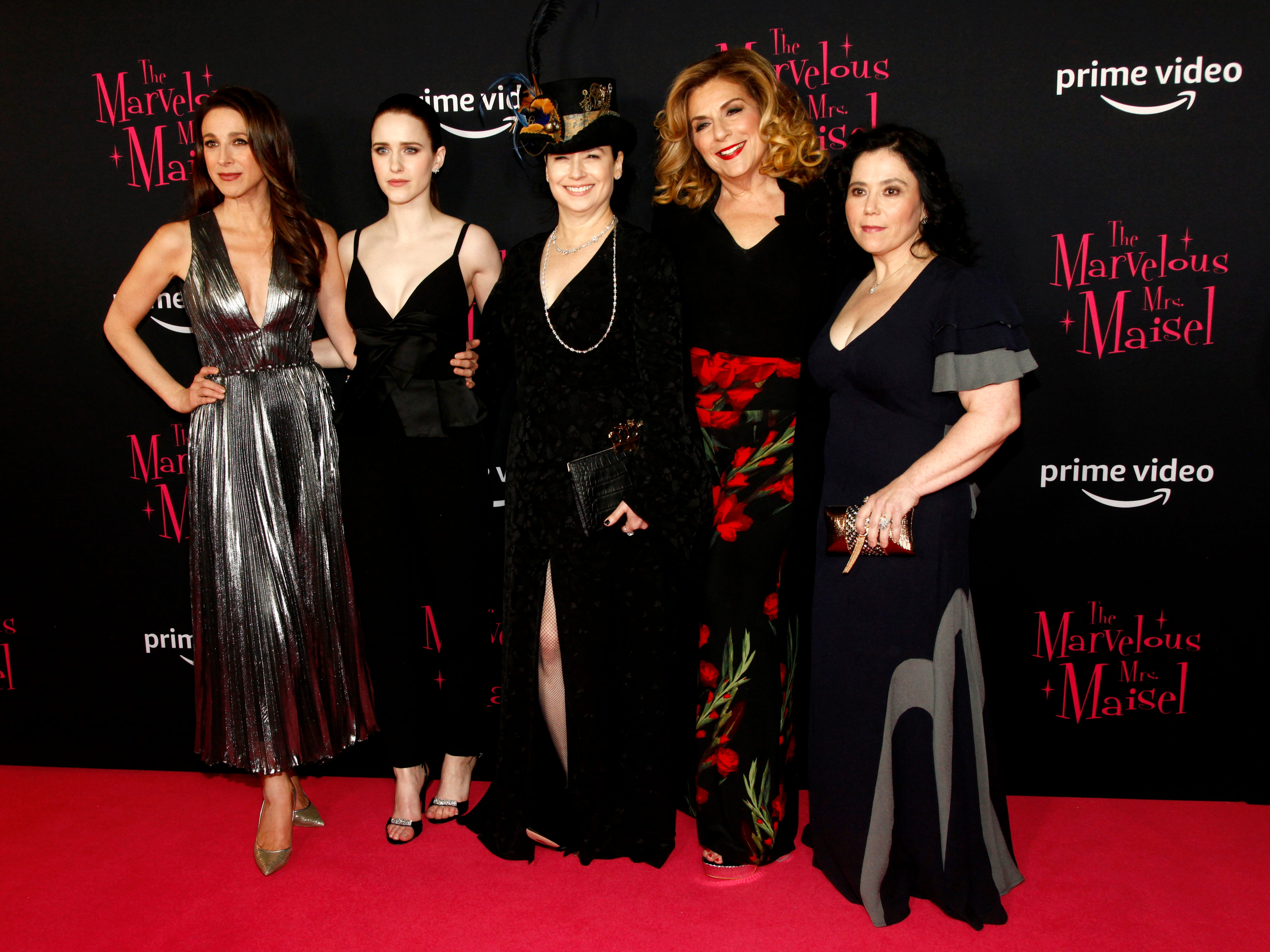 "Marin Hinkle, Rachel Brosnahan, Amy Sherman-Palladino, Caroline Aaron and  Alex Borstein at the premiere of season two of ""The Marvelous Mrs. Maisel"" Nov. 29, 2018 at The Paris Theatre in New York City."