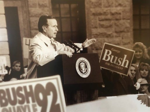 George Bush campaigning in front of the Hartley Dodge Memorial Building (also known as Madison Town Hall) the night before the 1992 election.