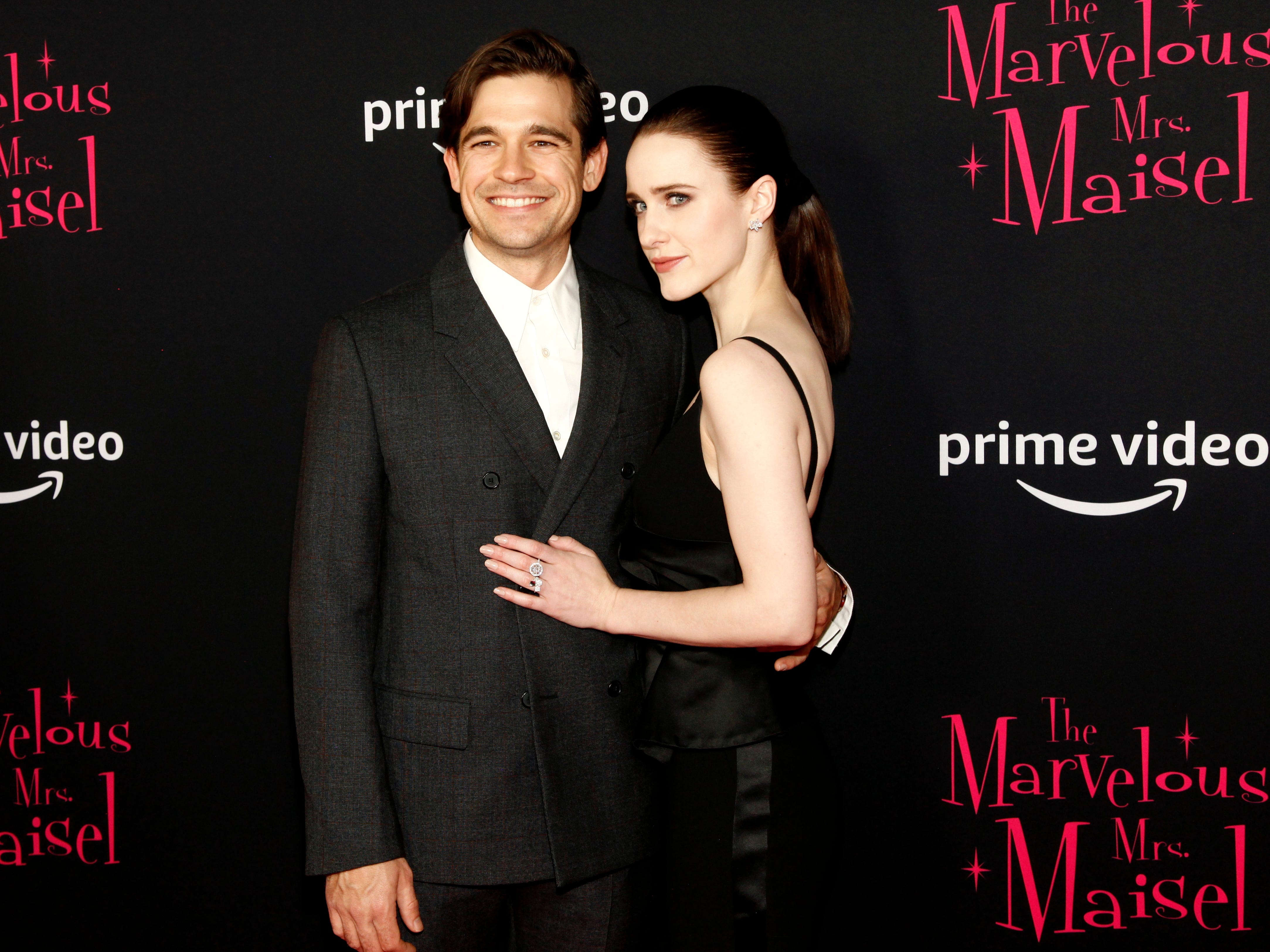 "Jason Ralph and Rachel Brosnahan at the premiere of season two of ""The Marvelous Mrs. Maisel"" Nov. 29, 2018 at The Paris Theatre in New York City."