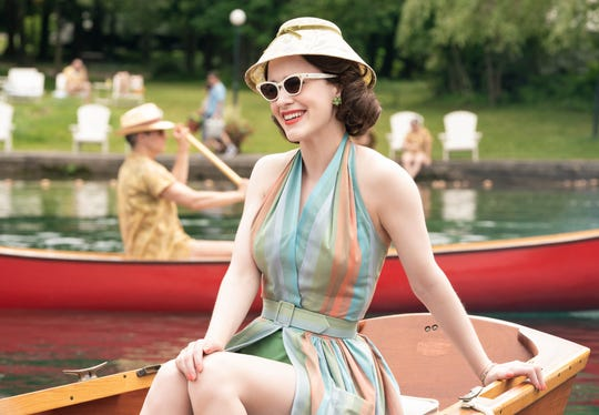 "Rachel Brosnahan stars as Miriam ""Midge"" Maisel in season two of the Amazon Prime Video series ""The Marvelous Mrs. Maisel,"" shot at Scott's Oquaga Lake House."