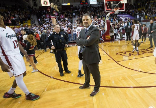 Chris Jans, headcoach at New Mexico State University after NMSU beat the University of New Mexico Tuesday December 4, 2018 at the Pan American Center, 100 to 65.