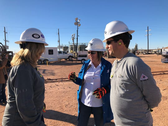 New Mexico State Land Commissioner Stephanie Garcia Richard tours an XTO site, Nov. 4, 2018 in Carlsbad.