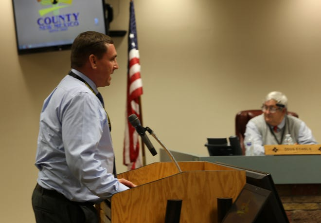 New County Manager Mike Stark addresses the San Juan County Commission Tuesday in Aztec.