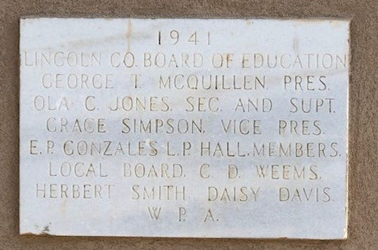 Commemorative plaque for the school bell  in 1941, after the depression.