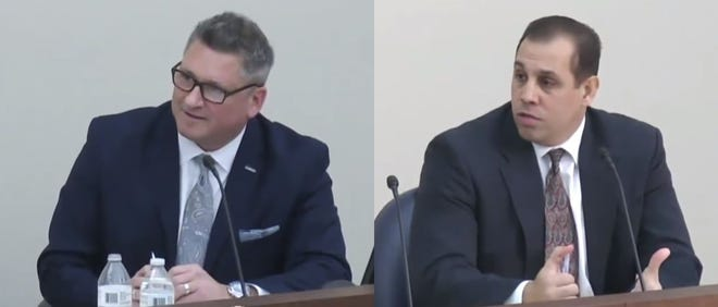 On the left, Mark Dziatczak, deputy superintendent for teaching and learning for Troy Schools. On the right is Christopher Delgado, deputy superintendent for Walled Lake Consolidated Schools. The two are finalists for the superintendent's position in Birmingham Public Schools.
