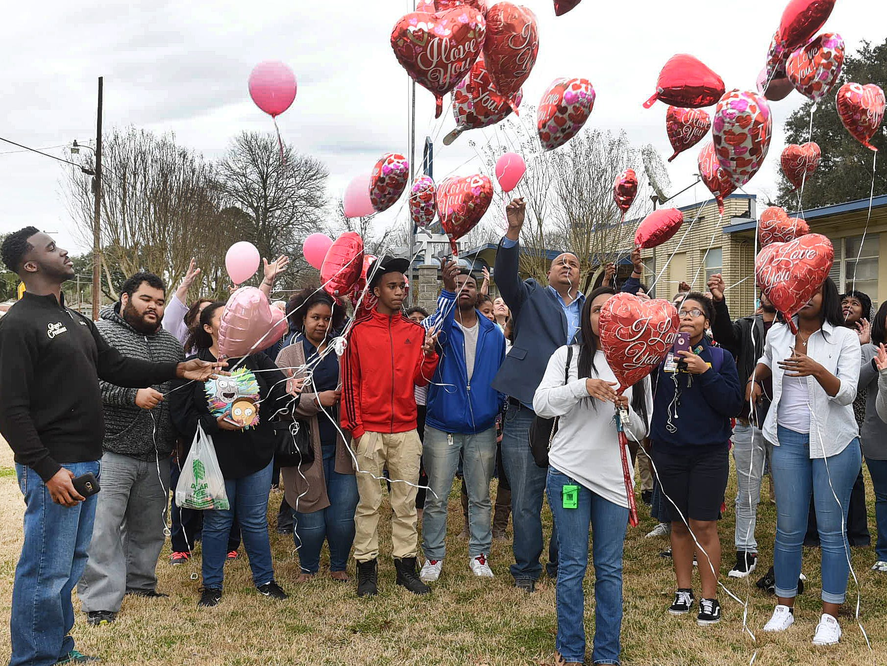 A balloon launch in memory of Stella Thomas long time educator and Daily World columnist who passed awary in 2018.