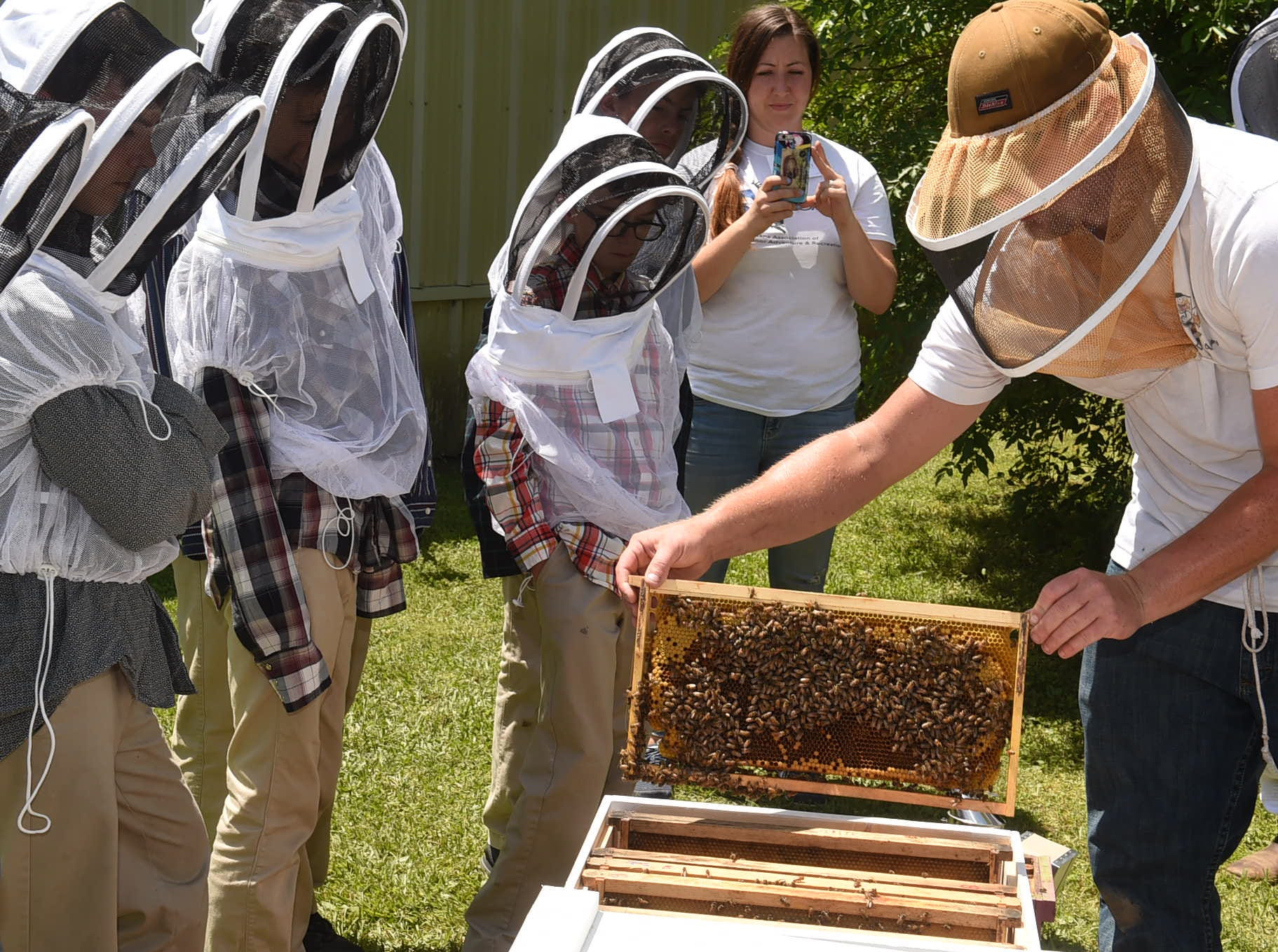Keeping bees at Berchmans Academy of the Sacred Heart in Grand Coteau.