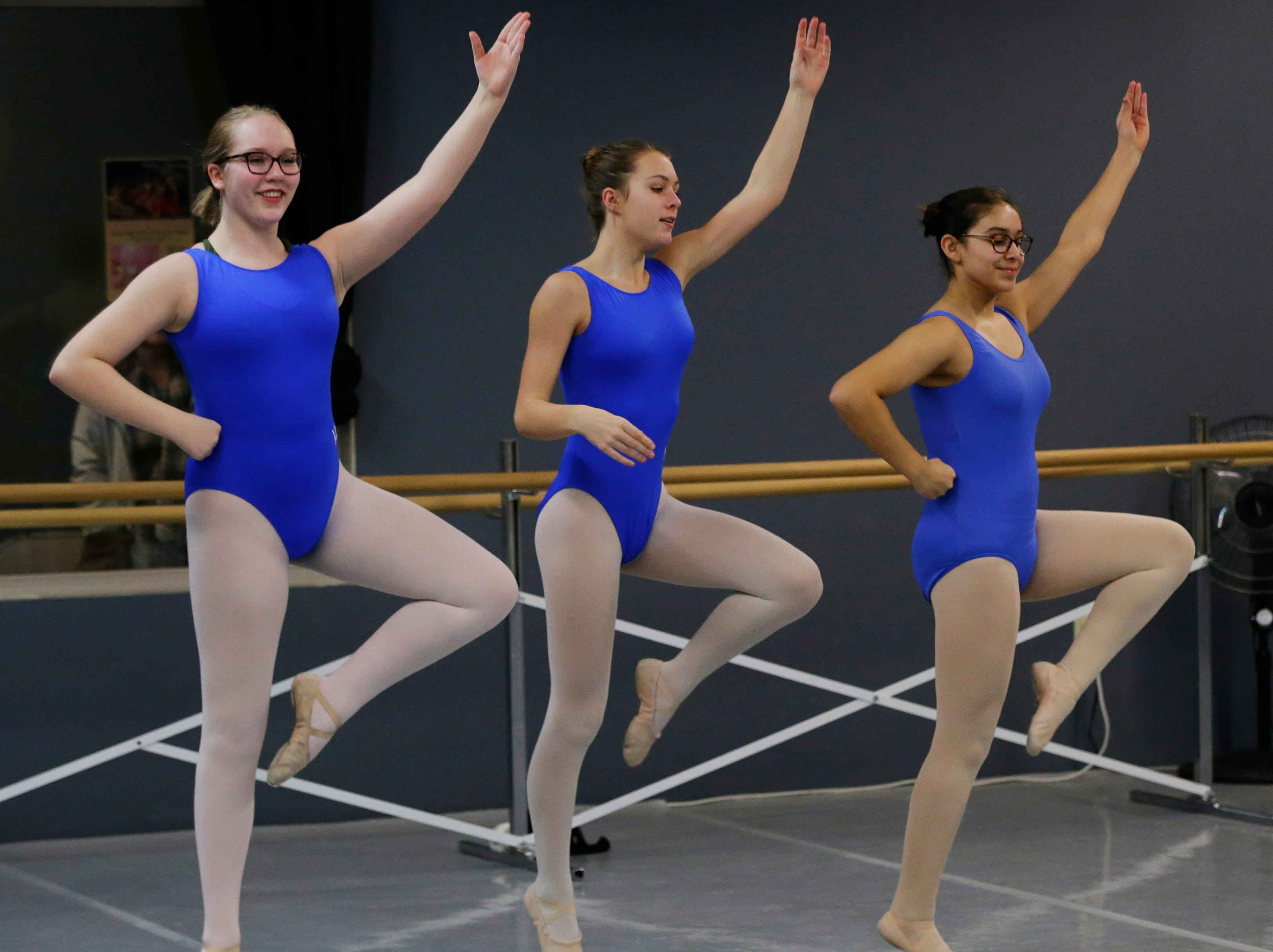 Anya Harrington, Meredith Weston, and Vanessa Torres dance their routine.  Dancers practice ballet at Valley Academy of the Arts located at 139 N. Lake Street in Neenah, Wis., Tuesday, December 4, 2018.