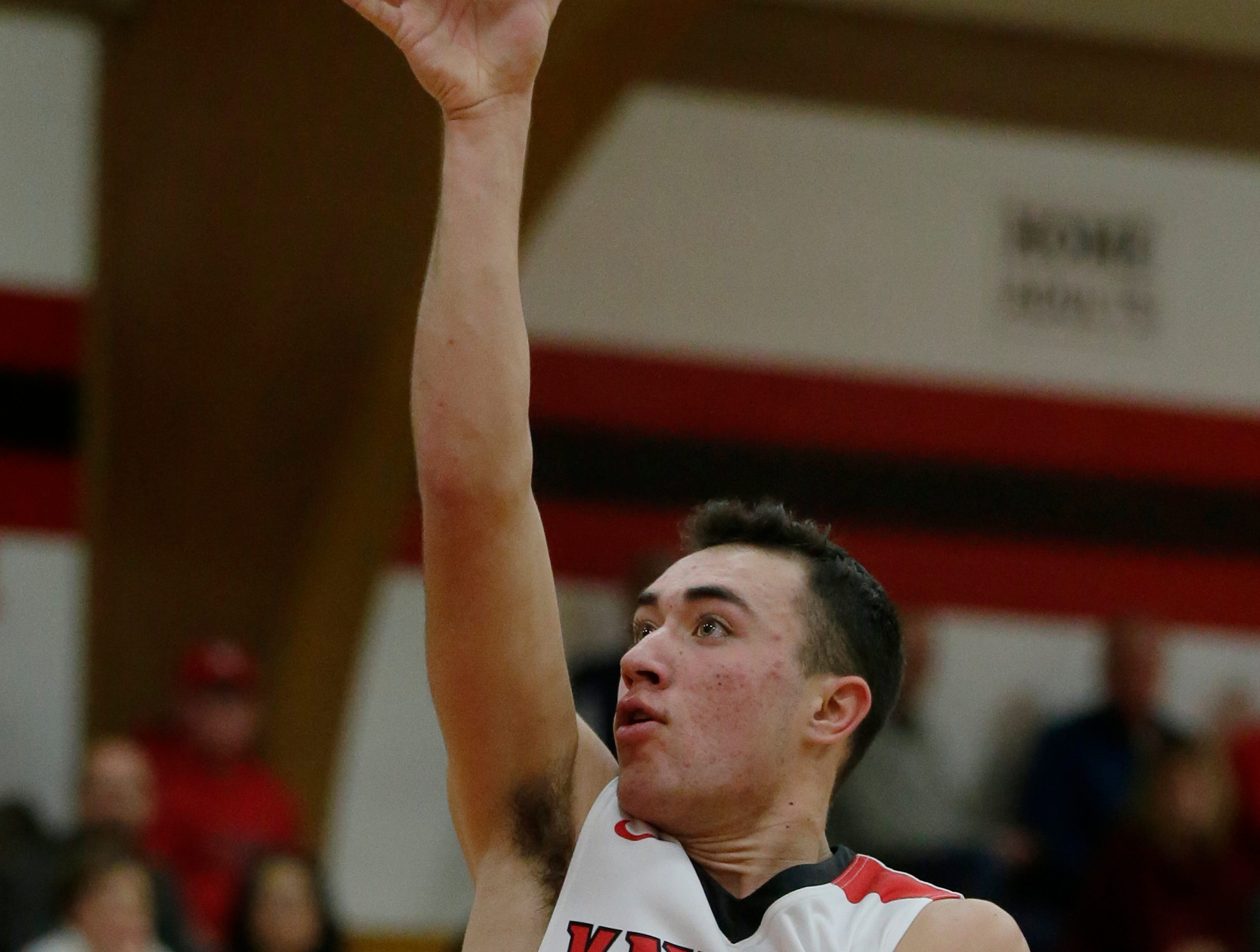 Lourdes Academy's Ben Huizenga drives to the inside for a shot. Lourdes Academy Knights played Oakfield Oaks in boys basketball Tuesday, Dec. 4, 2018, at Lourdes Castle in Oshkosh, Wis.